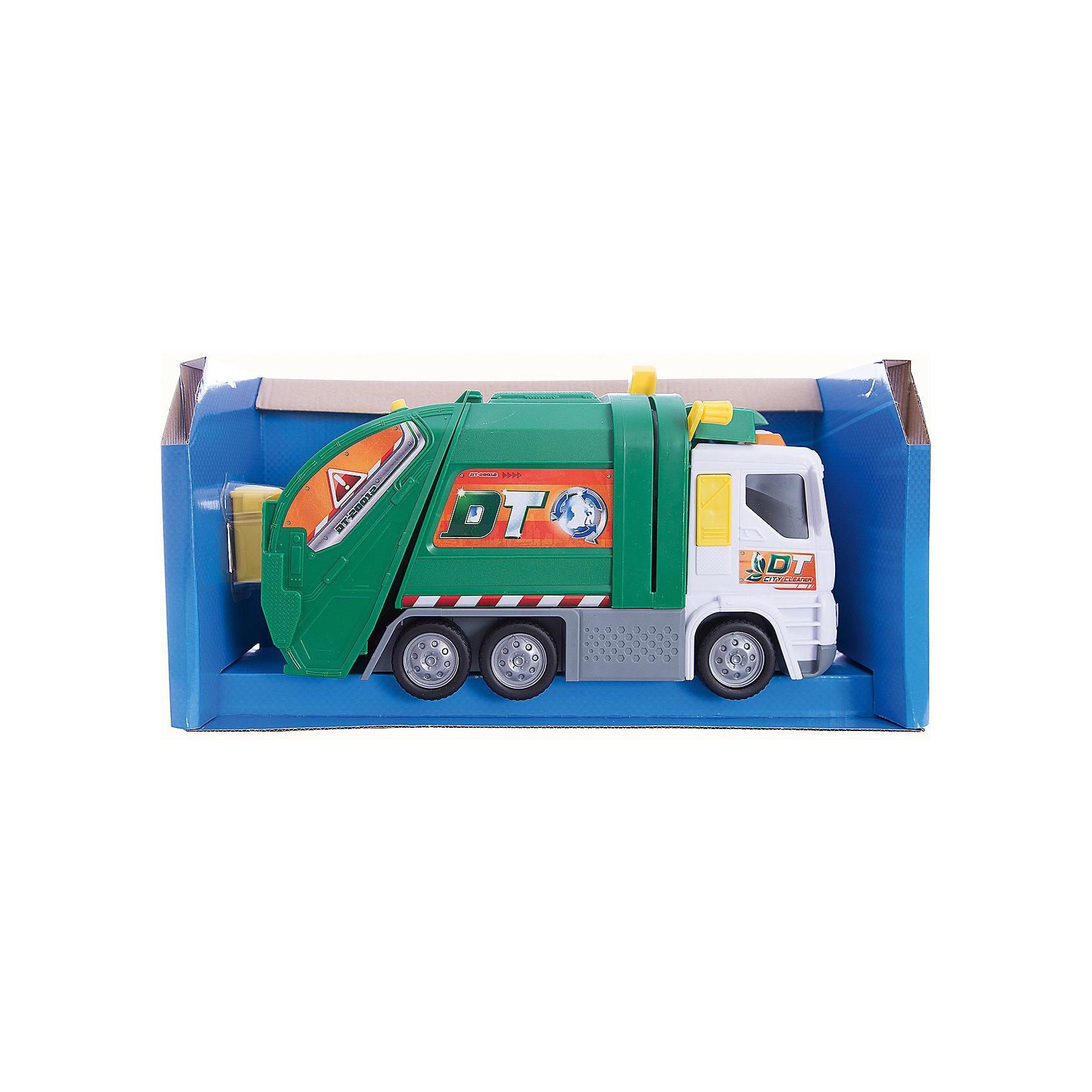 Мусоровоз со светом и звуком, 30см, Dickie ToysМашинки<br>Характеристики товара:<br><br>- цвет: разноцветный;<br>- материал: пластик;<br>- габариты: 30 см;<br>- комплектация: машина, мусорный бак, контейнер;<br>- батарейки: 2хАА в комплекте;<br>- возраст: 3+.<br><br>Машинки и комплектующие к ним – безусловные фавориты среди детских игрушек для мальчиков. Специализированная техника – желанный подарок всех деток. У игрушки есть рычаг, который умеет опускать и поднимать мусорный бак, чтобы затем опрокинуть его в большой контейнер - кузов. Работает от обычных пальчиковых батареек. Есть возможность производить звуковые, а так же световые эффекты. Материалы, участвовавшие при создании и изготовлении изделия полностью безопасны для малыша, а так же отвечают современным международным требованиям по качеству детских товаров.<br><br>Игрушку Мусоровоз со светом и звуком, 30 см от бренда Dickie Toys можно купить в нашем интернет-магазине.<br><br>Ширина мм: 400<br>Глубина мм: 200<br>Высота мм: 150<br>Вес г: 1000<br>Возраст от месяцев: 36<br>Возраст до месяцев: 168<br>Пол: Мужской<br>Возраст: Детский<br>SKU: 5104804