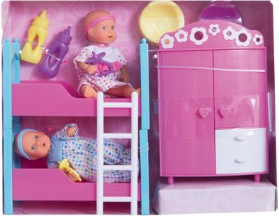 Набор пупсиков в детской спальне, 12 см, Simba