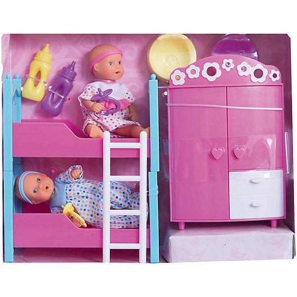 Набор пупсиков в детской спальне, 12 см, SimbaКуклы<br>Характеристики товара:<br><br>- цвет: разноцветный;<br>- материал: текстиль, пластик;<br>- габариты упаковки: 28х9х22 см;<br>- высота пупса: 12 см;<br>- комплектация: 2 пупса, шкаф, двухъярусная кроватка с лестницей, 2 горшка, 2 бутылочки, 2 соски;<br>- возраст от: 3+.<br><br>Дочки–матери – любимая игра всех малышек. Пластиковые пупсы – приятное и веселое развлечение. В наборе идут 2 куклы, кроватка и шкафчик – все как в настоящей спальне! Куклы умеют пить. Подходит как для одиночной игры, так и для игры в кругу друзей. Прививает малышке чувство ответственности и развивает социальные навыки. Материалы, использованные при изготовлении изделия, абсолютно безопасны и полностью отвечают международным требованиям по качеству детских товаров.<br><br>Игрушку Набор пупсиков в детской спальне, 12 см от бренда Simba можно купить в нашем интернет-магазине.<br><br>Ширина мм: 220<br>Глубина мм: 280<br>Высота мм: 80<br>Вес г: 600<br>Возраст от месяцев: 36<br>Возраст до месяцев: 168<br>Пол: Женский<br>Возраст: Детский<br>SKU: 5104805