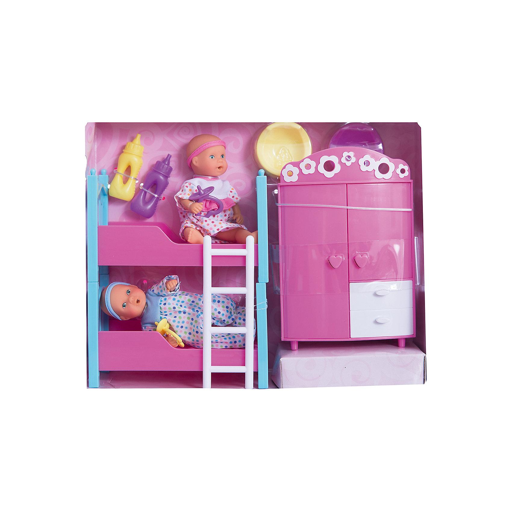 Набор пупсиков в детской спальне, 12 см, SimbaХарактеристики товара:<br><br>- цвет: разноцветный;<br>- материал: текстиль, пластик;<br>- габариты упаковки: 28х9х22 см;<br>- высота пупса: 12 см;<br>- комплектация: 2 пупса, шкаф, двухъярусная кроватка с лестницей, 2 горшка, 2 бутылочки, 2 соски;<br>- возраст от: 3+.<br><br>Дочки–матери – любимая игра всех малышек. Пластиковые пупсы – приятное и веселое развлечение. В наборе идут 2 куклы, кроватка и шкафчик – все как в настоящей спальне! Куклы умеют пить. Подходит как для одиночной игры, так и для игры в кругу друзей. Прививает малышке чувство ответственности и развивает социальные навыки. Материалы, использованные при изготовлении изделия, абсолютно безопасны и полностью отвечают международным требованиям по качеству детских товаров.<br><br>Игрушку Набор пупсиков в детской спальне, 12 см от бренда Simba можно купить в нашем интернет-магазине.<br><br>Ширина мм: 220<br>Глубина мм: 280<br>Высота мм: 80<br>Вес г: 600<br>Возраст от месяцев: 36<br>Возраст до месяцев: 168<br>Пол: Женский<br>Возраст: Детский<br>SKU: 5104805