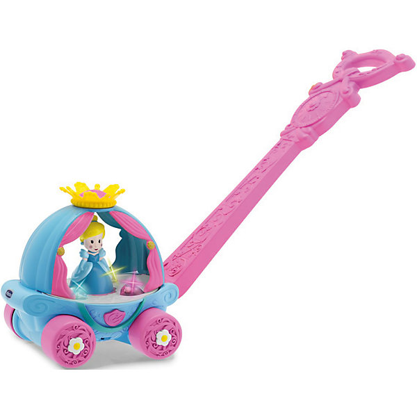 Игрушка Волшебная Карета Золушки, ChiccoИгрушки<br>Chicco представляет новую игрушку «Волшебная карета Золушки», которая стимулирует вашего ребенка делать как можно больше шажков, благодаря световым эффектам и мелодиям, которые активируются, когда малышка начинает толкать карету.<br>Как только ваша малышка толкнет карету, огоньки засияют, а Золушка начнет кружиться в танце под чарующую мелодию. Декорированную ручку кареты можно регулировать по высоте. А еще ее можно снять – и продолжить играть с каретой на колесиках. Игрушку без ручки можно использовать, даже когда ребенок подрастет.<br>Ширина мм: 215; Глубина мм: 185; Высота мм: 423; Вес г: 783; Возраст от месяцев: 12; Возраст до месяцев: 36; Пол: Женский; Возраст: Детский; SKU: 5105201;