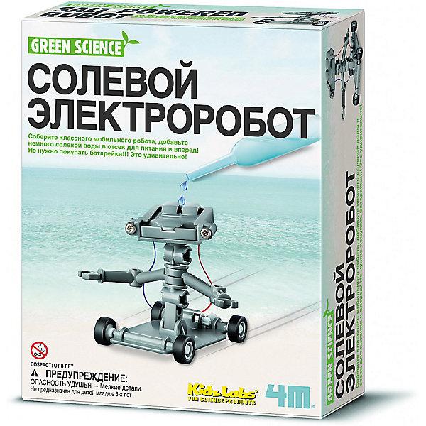 Солевой электроробот, 4MРобототехника и электроника<br>Этот робот уникален по двум причинам. Во-первых, он работает не от батареек, а от обычной соленой воды. Во-вторых, сенсационное изобретение появится на свет благодаря вашему юному ученому. <br><br>Набор «Солевой электроробот» от 4М поможет ребенку самостоятельно собрать оригинальную модель робота, наглядно покажет принцип действия электрической цепи, поведает от источниках «Чистой энергии» и погрузит в мир захватывающей электромеханики.<br><br>Весь процесс сборки сопровождается подробными инструкциями на русском языке. Проявите чуточку терпения, аккуратности и точности. И вскоре вы будете радостно наблюдать, как ваше изобретение резво передвигается по комнате.<br><br>Кроме колес, у робота есть руки, в которые можно положить листок бумаги или другой ценный груз, и забавный почтальон доставит его по адресу.<br><br>А главное, что роботу не нужны батарейки, которые изрядно отравляют экологию. Просто капните в его «топливный бак» немного соленой воды – и он придет в движение! Согласитесь, с такими чудо-устройствами вы ранее не встречались и вряд ли догадывались об их существовании. <br><br>Удивите своим открытием друзей, родственников и учителей. Расскажите всем, что ваш робот не загрязняет окружающую среду и работает на экологически безопасном топливе!<br>Ширина мм: 220; Глубина мм: 170; Высота мм: 60; Вес г: 173; Возраст от месяцев: 96; Возраст до месяцев: 2147483647; Пол: Унисекс; Возраст: Детский; SKU: 5105203;