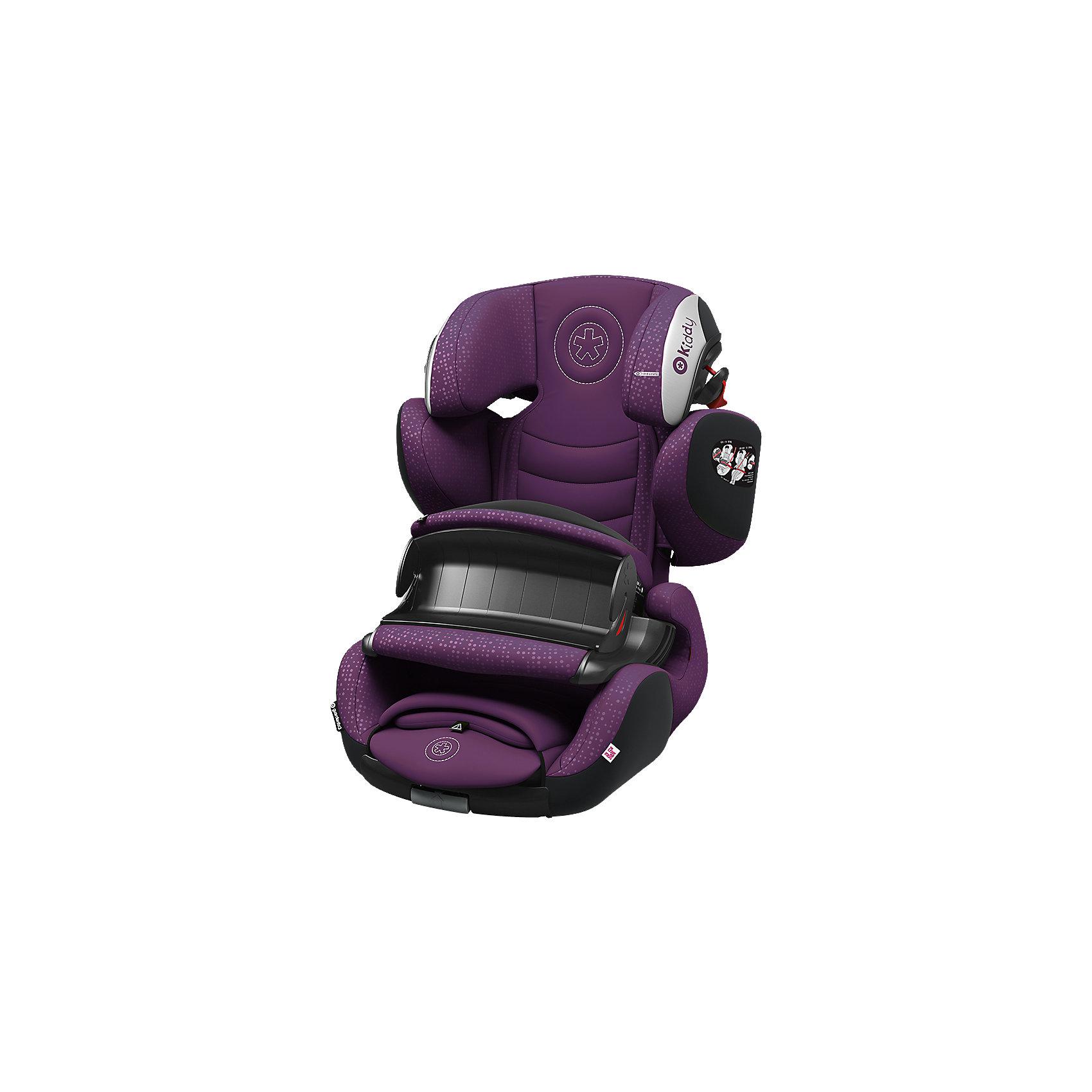 Автокресло Kiddy Guardianfix 3, 9-36кг., Royal LilaГруппа 1-2-3 (От 9 до 36 кг)<br>Kiddy GuardianFix 3(Кидди Гардианфикс 3) – детское автомобильное кресло гр. 123 со столиком безопасности и свободной регулировкой по углу наклона, оснащено креплениями Isofix, подходит детям от 9 мес. до 12 лет (9-36 кг), ростом от 75 до 150 см. Характеристики этой модели обеспечивают ребенку комфорт в длительных поездках и повышенную безопасность в аварийных ситуациях.Для самых маленьких в гр. 1 предусмотрена фиксация с помощью столика безопасности. Характеристики: анатомическая форма кресла позволяет ребенку наслаждаться путешествиями с комфортом;<br>Ортопедический корпус из пластика повышенной прочности обеспечивает максимум безопасности;<br>Амортизирующие прослойки и форма корпуса помогают в правильном формировании осанки у ребенка;<br>Спинка автокресла регулируется по углу наклона благодаря плавающему креплению и выдвижным изофикс;<br>Регулируемый плечевой щит настраивается по росту с подголовником и фиксируется в одном из семи положений;<br>Направляющие в подголовнике отвечает за правильное размещение ремня автомобиля на плече и грудной клетке ребенка;<br>Дышащий материал сиденья впитывает влагу, устойчив к загрязнениям и препятствует впитыванию посторонних запахов;<br>Износостойкая отделка автокресла с вентилируемой спинкой при необходимости снимается для деликатной стирки.<br><br>Ширина мм: 734<br>Глубина мм: 513<br>Высота мм: 507<br>Вес г: 10310<br>Цвет: лиловый<br>Возраст от месяцев: 9<br>Возраст до месяцев: 144<br>Пол: Унисекс<br>Возраст: Детский<br>SKU: 5105429