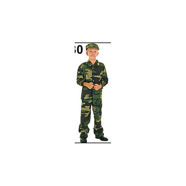Карнавальный костюм Солдат, MARKO FERENZOКарнавальные костюмы для мальчиков<br>Характеристики карнавального костюма Солдат, Marko Ferenzo:<br><br>- пол: для мальчиков<br>- цвет: хаки.<br>- комплект: рубашка, брюки, кепка.<br>- материал: текстиль, пластик.<br>- рост: 120-130 см.<br>- размер: м<br>- упаковка: пакет, картон.<br><br>Карнавальный костюм Солдат торговой марки Marko Ferenzo - это  набор униформы для юного защитника Отечества. Пока мальчик еще маленький, он не может защищать Родину совсем как настоящий войн, но он вполне может одеться в карнавальный костюм Солдат, взять в руки любимый автомат, и защищать всех, кого хочется защитить. Отличный костюм для тех, кто хочет стать военным, когда вырастет.<br><br>Карнавальный костюм Солдат торговой марки Marko Ferenzo можно купить в нашем интернет-магазине.<br><br>Ширина мм: 450<br>Глубина мм: 500<br>Высота мм: 30<br>Вес г: 10<br>Возраст от месяцев: 36<br>Возраст до месяцев: 96<br>Пол: Мужской<br>Возраст: Детский<br>SKU: 5105634