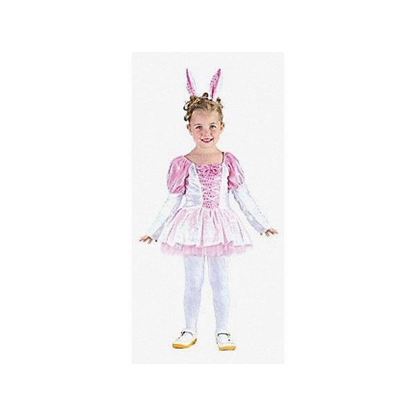 Карнавальный костюм Зайчик, MARKO FERENZOКарнавальные костюмы для девочек<br>Характеристики карнавального костюма Зайчик, Marko Ferenzo:<br><br>- пол: для девочек<br>- комплект: платье, ободок.<br>- материал: текстиль, пластик.<br>- размер упаковки: 31 * 24 * 4 см.<br>- упаковка: пакет.<br>- подходящий рост ребенка: 92-104 см.<br>- размер: м.<br><br>Карнавальный костюм для девочек Зайчик - это роскошное платьице нежного розового цвета и ободок с милыми заячьими ушками. Нарядившись в такую красоту, девочка обязательно понравится всем присутствующим, ведь забавнее зайчика сложно будет представить. Костюм подойдет для самых разных праздников, будь то утренник, карнавал, день рождения или любой другой.<br>Платье сделано из текстиля, который приятен на ощупь и не вызывает дискомфорта.<br><br>Карнавальный костюм Зайчик торговой марки Marko Ferenzo можно купить в нашем интернет-магазине.<br>Ширина мм: 450; Глубина мм: 500; Высота мм: 30; Вес г: 7; Возраст от месяцев: 36; Возраст до месяцев: 96; Пол: Женский; Возраст: Детский; SKU: 5105637;