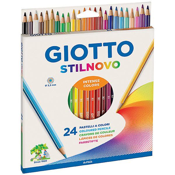Цветные карандаши, 24 шт.Цветные<br>Характеристики товара:<br><br>• в комплекте: 24 карандаша;<br>• толщина грифеля: 3,3 мм;<br>• размер упаковки: 22х18х1 см;<br>• вес: 142 грамма;<br>• возраст: от 3 лет.<br><br>Карандаши Giotto STILNOVO AST отлично подойдут как для школы, так и для рисования дома. Все карандаши изготовлены из качественной, сертифицированной, экологически чистой древесины. Они легко затачиваются, а грифель не крошится и хорошо выдерживает сильное нажатие. Грифели имеют яркие цвета и обеспечивают мягкое, комфортное рисование. На рубашке карандашей есть место для имени.<br><br>Giotto (Джотто) STILNOVO AST 24 цв Цветные гексагональные деревянные карандаши можно купить в нашем интернет-магазине.<br><br>Ширина мм: 185<br>Глубина мм: 20<br>Высота мм: 172<br>Вес г: 160<br>Возраст от месяцев: 72<br>Возраст до месяцев: 120<br>Пол: Унисекс<br>Возраст: Детский<br>SKU: 5107784