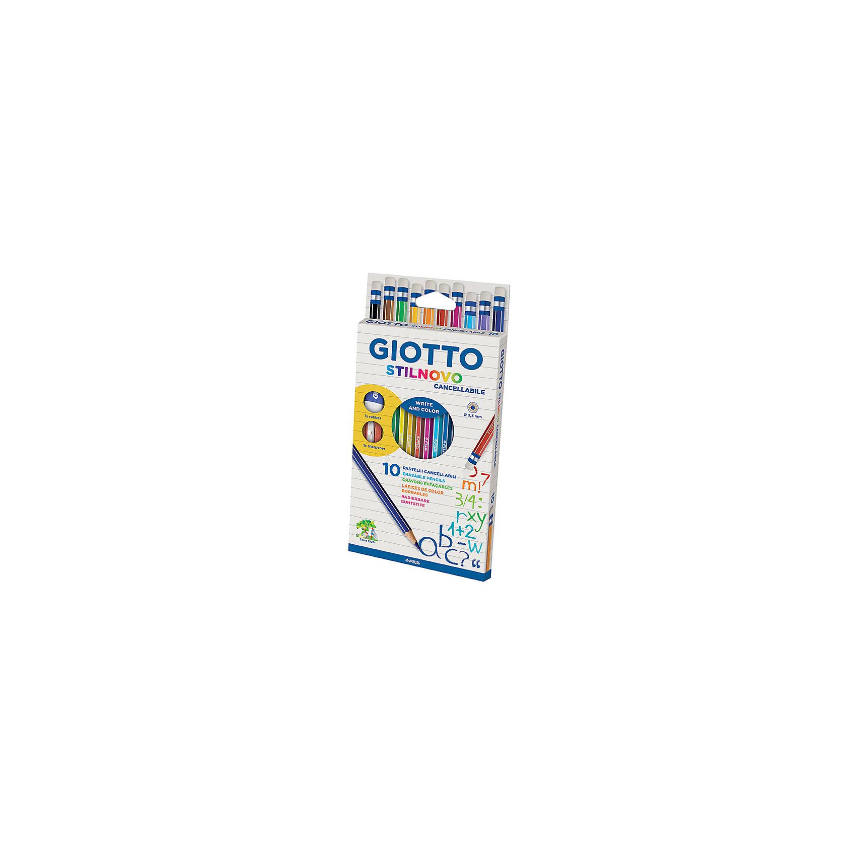 GIOTTO Стираемые цветные  карандашии, 10 шт. giotto stilnovo цветные гексагональные 24 цвета