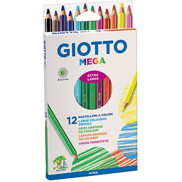 Утолщенные цветные деревянные карандаши, 12 шт.Цветные<br>Характеристики товара:<br><br>• в комплекте: 12 карандашей (12 цветов);<br>• гексагональная форма;<br>• толщина грифеля: 5,5 мм;<br>• размер упаковки: 21,5х11,5х1,2 см;<br>• вес: 158 грамм;<br>• возраст: от 3 лет.<br><br>Цветные карандаши Giotto Mega имеют утолщенную гексагональную форму, удобную для детских рук. Карандаши выполнены из экологически чистой сертифицированной древесины. Грифель карандаша обладает высокой прочностью. Он не ломается и не требует усилий при рисовании. Высококачественные карандаши обеспечивают мягкое и комфортное рисование. На корпусе карандашей есть место для нанесения имени.<br><br>Giotto (Джотто) MEGA 12 цв.Цветные карандаши гексагональной формы, утолщенные 12 шт. можно купить в нашем интернет-магазине.<br>Ширина мм: 130; Глубина мм: 30; Высота мм: 200; Вес г: 150; Возраст от месяцев: 72; Возраст до месяцев: 120; Пол: Унисекс; Возраст: Детский; SKU: 5107795;