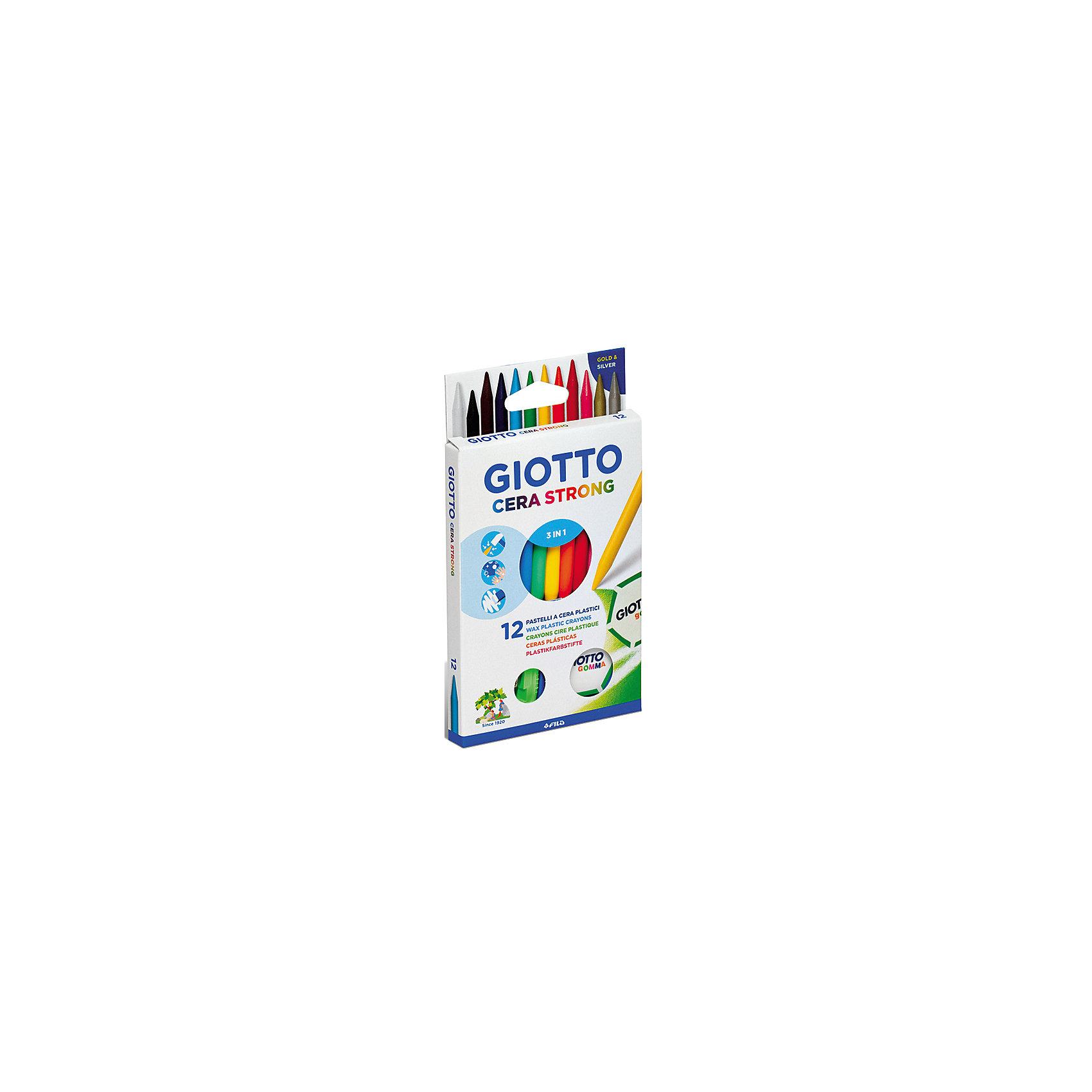Пластиковые карандаши с  воском, 12 шт.Масляные и восковые мелки<br>Характеристики товара:<br><br>• в комплекте: 12 карандашей (12 цветов), ластик, точилка;<br>• диаметр карандаша: 8 мм;<br>• размер упаковки: 20х11х1,5 см;<br>• вес: 115 грамм;<br>• возраст: от 3 лет.<br><br>Giotto CERA STRONG - набор из 12 цветных пластиковых карандашей. Карандаши обладают высоким содержанием воска. Рисуют яркими и мягкими штрихами. Рисунок можно стереть при помощи ластика. В комплект входит точилка, предназначенная для заточки карандашей. Диаметр карандаша составляет 8 мм.<br><br>Giotto (Джотто) CERA STRONG Восковые карандаши с добавлением пластика 12цв+ластик+точилка можно купить в нашем интернет-магазине.<br><br>Ширина мм: 130<br>Глубина мм: 30<br>Высота мм: 200<br>Вес г: 150<br>Возраст от месяцев: 72<br>Возраст до месяцев: 120<br>Пол: Унисекс<br>Возраст: Детский<br>SKU: 5107799