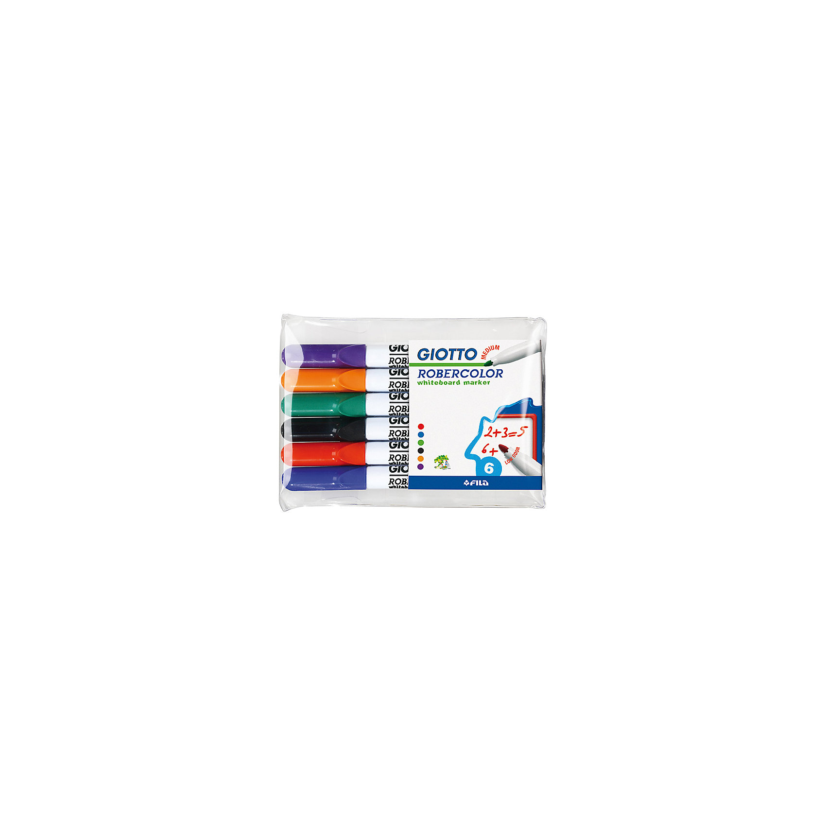 Набор маркеров для белой доски со средним наконечником 6штПисьменные принадлежности<br>Характеристики товара:<br><br>• в комплекте: 6 маркеров;<br>• цвета: синий, черный, красный, зеленый, оранжевый, фиолетовый;<br>• материал: пластик;<br>• размер упаковки: 16х10,3х1 см;<br>• вес: 86 грамм;<br>• возраст: от 3 лет.<br><br>Маркеры Giotto Robecolor Whiteboard Medium подходят для рисования на любых белых досках. В наборе 4 ярких цвета: красный, синий, зеленый, черный. Наконечник круглой формы выполнен в средней толщине. Рисунок быстро стирается с доски при необходимости.<br><br>Giotto (Джотто) Robecolor Whiteboard Medium Набор маркеров для белой доски 6шт в бл. можно купить в нашем интернет-магазине.<br><br>Ширина мм: 60<br>Глубина мм: 10<br>Высота мм: 140<br>Вес г: 90<br>Возраст от месяцев: 72<br>Возраст до месяцев: 120<br>Пол: Унисекс<br>Возраст: Детский<br>SKU: 5107807