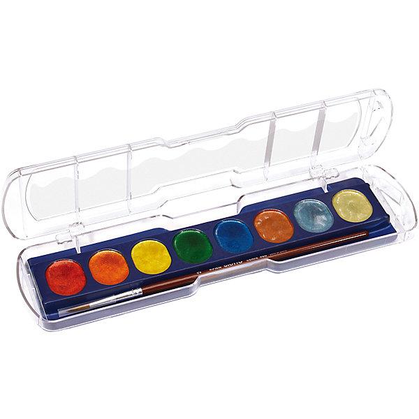 Акварель с металлическим эффектом, 8 цветов.Рисование и лепка<br>Характеристики товара:<br><br>• в комплекте: краски (8 цветов), кисточка;<br>• эффект мерцания;<br>• размер упаковки: 23,8х6,5х1,8 см;<br>• вес: 105 грамм;<br>• возраст: от 3 лет.<br><br>Полусухая акварель Giotto обладают высокой концентрацией цветового пигмента, благодаря чему ее хватает на долго время использования. Палитра состоит из восьми насыщенных цветов с эффектом мерцания. Эффект сохраняется во время рисования и после высыхания. Краски можно смешивать для получения новых оттенков. Для создания полупрозрачного цвета необходимо добавить большее количество воды. В комплект входит кисточка.<br><br>Giotto (Джотто) Акварель полусухая металлик 8цв. можно купить в нашем интернет-магазине.<br><br>Ширина мм: 65<br>Глубина мм: 18<br>Высота мм: 230<br>Вес г: 102<br>Возраст от месяцев: 72<br>Возраст до месяцев: 120<br>Пол: Унисекс<br>Возраст: Детский<br>SKU: 5107815