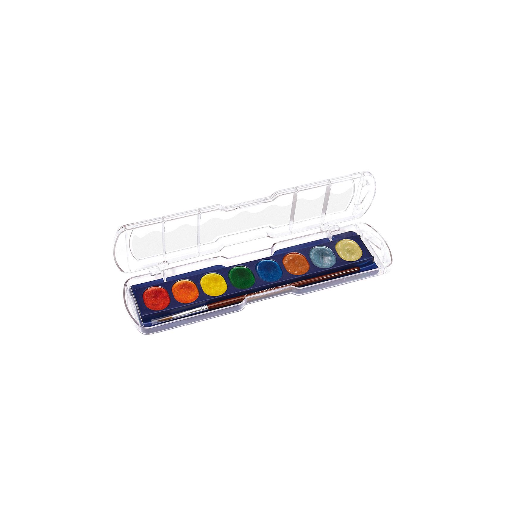 Акварель с металлическим эффектом, 8 цветов.Акварель с металлическим эффектом, 8 цв. Создает эффект мерцания на поверхности бумаге, при высыхании эффект сохраняется. Цвета смешиваются друг с другом и идеально размываются водой. Подходит для творческих и декоративных работ. В наборе с кистью.<br><br>Ширина мм: 65<br>Глубина мм: 18<br>Высота мм: 230<br>Вес г: 102<br>Возраст от месяцев: 72<br>Возраст до месяцев: 120<br>Пол: Унисекс<br>Возраст: Детский<br>SKU: 5107815