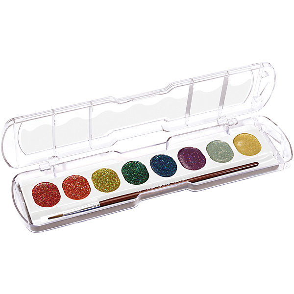Акварель с глиттером 8 цветовРисование и лепка<br>Характеристики товара:<br><br>• в комплекте: краски (8 цветов), кисточка;<br>• блестящий эффект;<br>• размер упаковки: 23,8х6,5х1,8 см;<br>• вес: 105 грамм;<br>• возраст: от 3 лет.<br><br>Полусухая акварель Giotto обладают высокой концентрацией цветового пигмента, благодаря чему их хватает на долгое время использования. Палитра состоит из восьми насыщенных цветов с блестящим эффектом. Эффект сохраняется во время рисования и после высыхания. Краски можно смешивать для получения новых оттенков. Для создания полупрозрачного цвета необходимо добавить большее количество воды. В комплект входит кисточка.<br><br>Giotto (Джотто) Акварель полусухую глиттер 8цв. можно купить в нашем интернет-магазине.<br>Ширина мм: 65; Глубина мм: 18; Высота мм: 230; Вес г: 102; Возраст от месяцев: 72; Возраст до месяцев: 120; Пол: Унисекс; Возраст: Детский; SKU: 5107816;