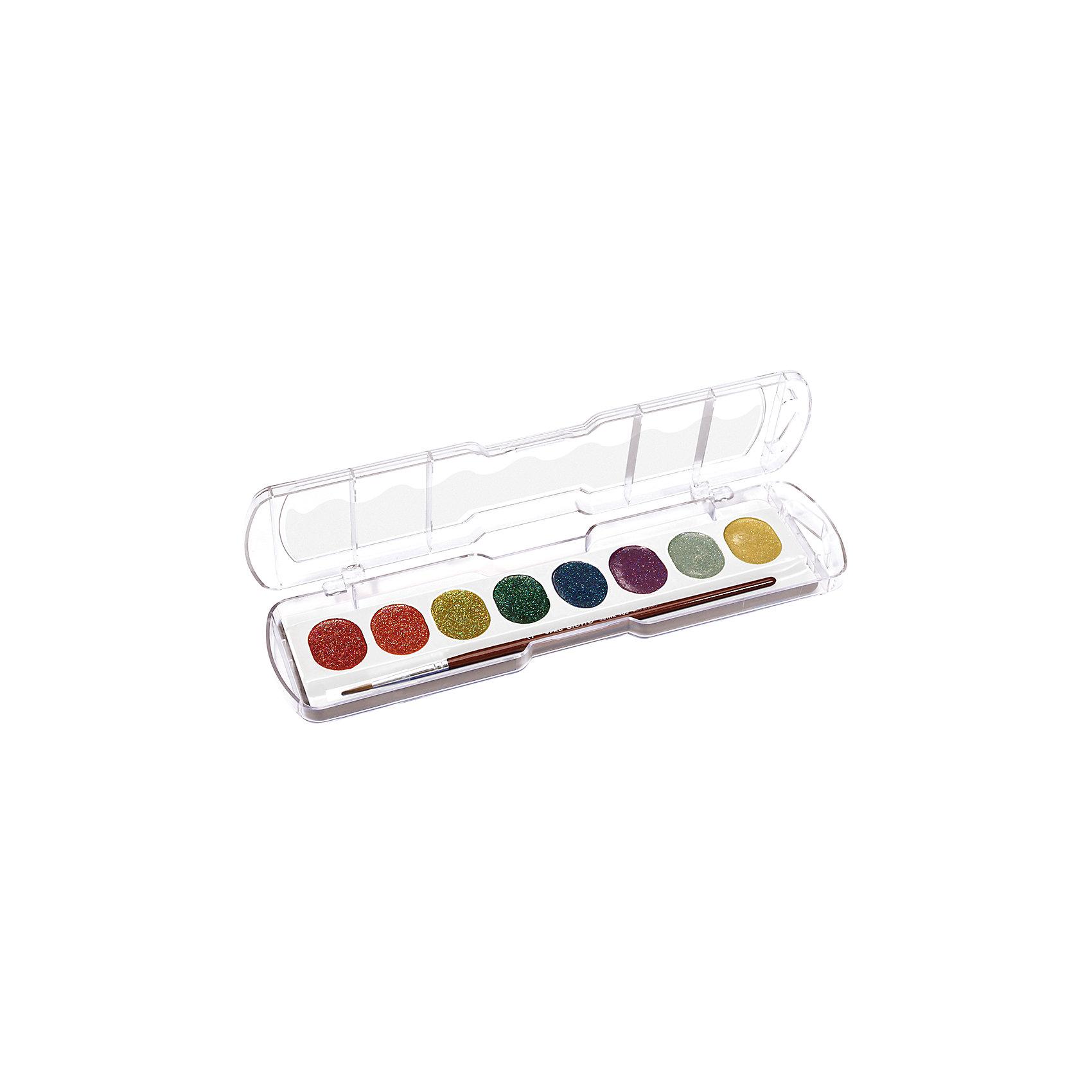 Акварель с глиттером 8 цветовРисование и лепка<br>Акварель с глиттером 8 цв. Создает блестящий эффект на поверхности бумаге, при высыхании эффект сохраняется. Цвета смешиваются друг с другом и идеально размываются водой. Подходит для творческих и декоративных работ. В наборе с кистью.<br><br>Ширина мм: 65<br>Глубина мм: 18<br>Высота мм: 230<br>Вес г: 102<br>Возраст от месяцев: 72<br>Возраст до месяцев: 120<br>Пол: Унисекс<br>Возраст: Детский<br>SKU: 5107816