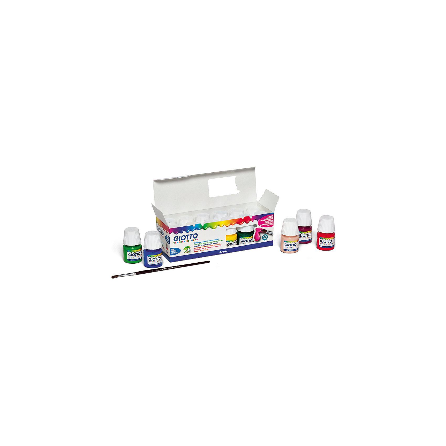 Художественная гуашь на водной основе в баночках 25 мл х 12 цветовРисование и лепка<br>Характеристики товара:<br><br>• в комплекте: 12 баночек с гуашью (12 цветов), кисть;<br>• объем баночки: 25 мл;<br>• размер упаковки: 20,5х7х7 см;<br>• вес: 490 грамм;<br>• возраст: от 3 лет.<br><br>Набор Giotto PAINT POT состоит из 12 баночек с гуашью классических цветов и кисточки. Гуашь хорошо ложится на бумагу, картон, ткань и дерево. Высококачественные материалы обеспечивают хорошую покрывающую способность. Цвета можно смешивать для получения новых оттенков. Сохраняет насыщенность цвета после высыхания. Гуашь PAINT POT хорошо отмывается с рук и одежды.<br><br>Giotto (Джотто) PAINT POT Гуашь 12цв*25мл+кисть можно купить в нашем интернет-магазине.<br><br>Ширина мм: 66<br>Глубина мм: 69<br>Высота мм: 205<br>Вес г: 526<br>Возраст от месяцев: 72<br>Возраст до месяцев: 120<br>Пол: Унисекс<br>Возраст: Детский<br>SKU: 5107818