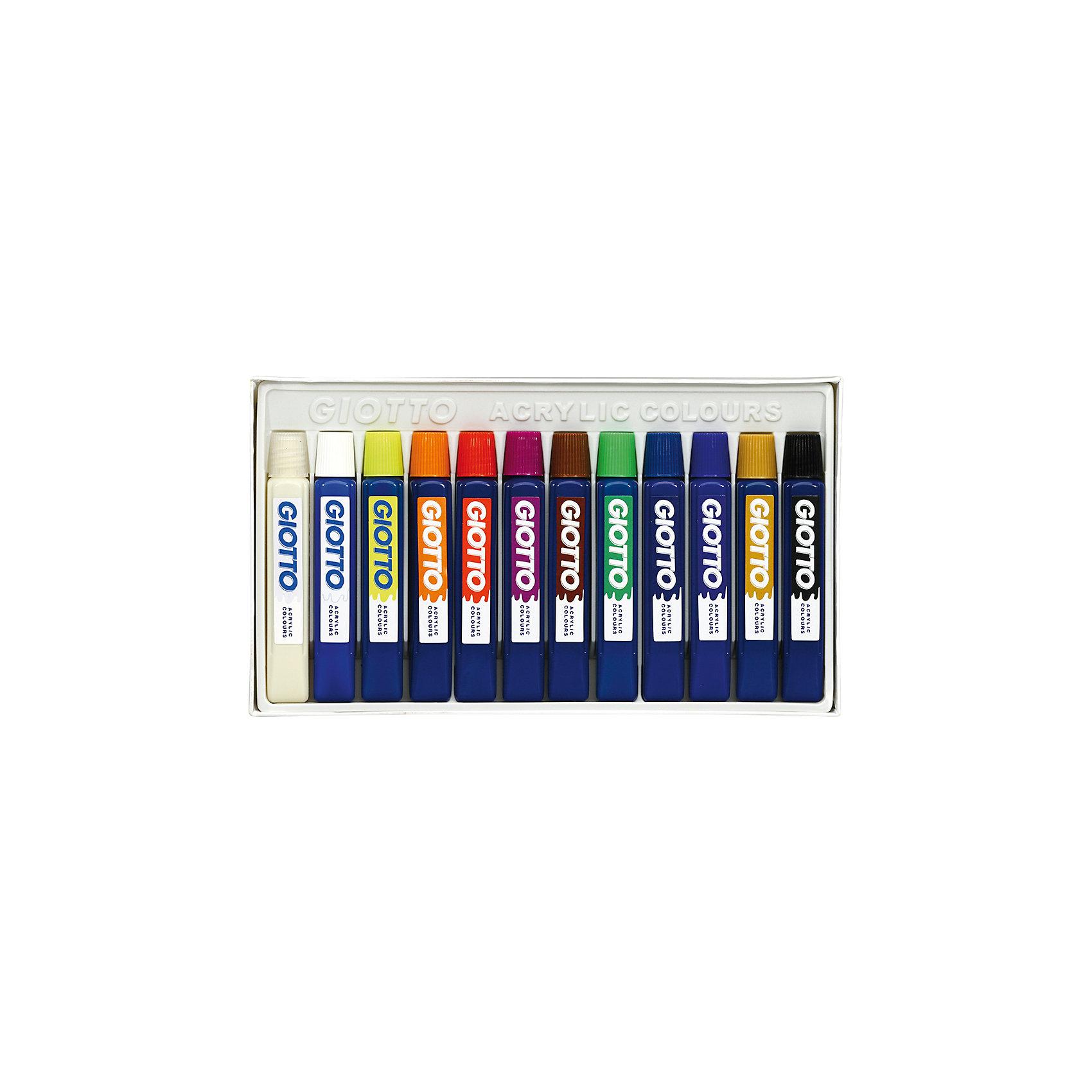 Акриловые краски на водной основе в тюбиках, 12 цветов х 12 мл., GIOTTOРисование<br>Акриловые краски на водной основе в тюбиках, 12 цв х 12 мл. Высокое содержание цветового пигмента. Высокая покрывающая способность. Краски перманентные подходят для рисования на различных поверхностях: картон, кожа, стекло, дерево, керамика, пластик.<br><br>Ширина мм: 300<br>Глубина мм: 30<br>Высота мм: 170<br>Вес г: 250<br>Возраст от месяцев: 72<br>Возраст до месяцев: 120<br>Пол: Унисекс<br>Возраст: Детский<br>SKU: 5107823