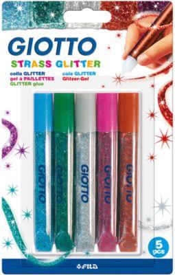 GIOTTO Глиттер для декорирования, цветные стразы, 5 цветов по 5,5 мл