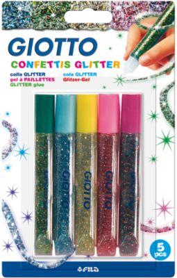 GIOTTO Глиттер для декорирования, цветные конфетти, 5 цветов по 5,5 мл