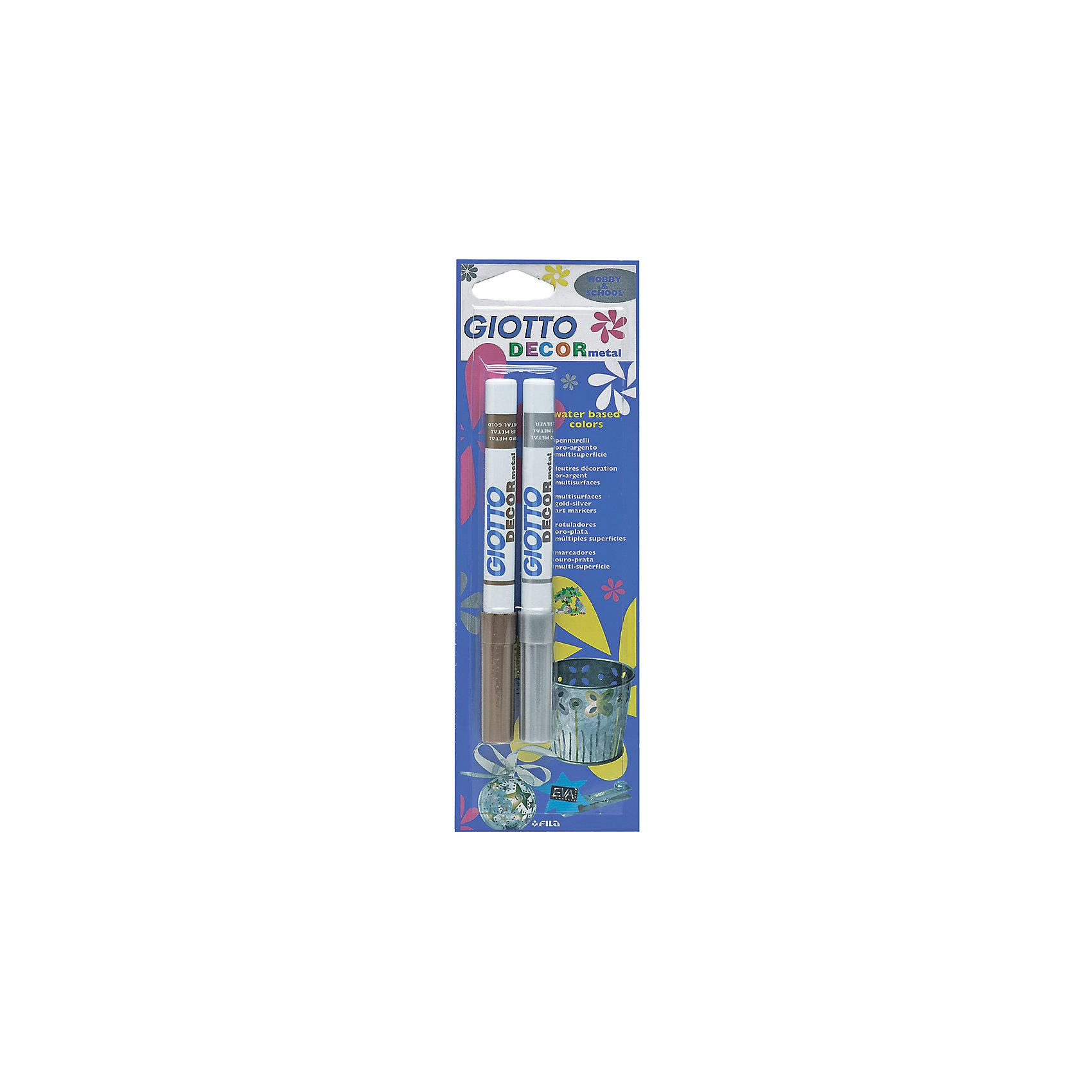Фломастеры для декорирования, цвет золото и серебро, 2 штФломастеры<br>Характеристики товара:<br><br>• в комплекте: 2 фломастера;<br>• цвета: золотой, серебряный;<br>• материал: пластик;<br>• размер упаковки: 23,9х1,5х7,5 см;<br>• возраст: от 3 лет.<br><br>Фломастеры Giotto DECOR METAL предназначены для надписей и декорирования таких поверхностей, как бумага, картон, стекло, пластик, металл и другие. В комплект входят фломастеры золотого и серебряного цветов. После нанесения линии приобретают приятный металлический оттенков и переливаются на солнце. Чернила фломастеров изготовлены на водной основе, без содержания токсичных компонентов.<br><br>Giotto (Джотто) DECOR METAL OR/AR 2 шт Фломастеры для декорирования с метал. эффектом в блистере (золото и серебро) можно купить в нашем интернет-магазине.<br><br>Ширина мм: 15<br>Глубина мм: 239<br>Высота мм: 75<br>Вес г: 46<br>Возраст от месяцев: 72<br>Возраст до месяцев: 120<br>Пол: Унисекс<br>Возраст: Детский<br>SKU: 5107837