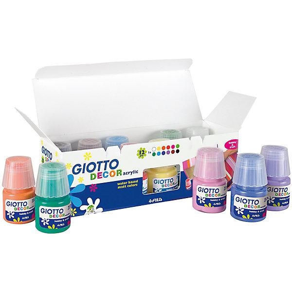 Акриловые краски на водной основе 25мл х 12цветов.Краски и кисточки<br>Характеристики товара:<br><br>• в комплекте: 12 баночек с краской;<br>• объем: 25 мл;<br>• размер упаковки: 23х13х1,5 см;<br>•вес: 300 грамм;<br>• возраст: от 3 лет.<br><br>Акриловые краски Giotto DECOR ACRYLIC подходят для нанесения на любую поверхность. Краски выполнены на водной основе, благодаря чему легко смешиваются и не имеют запаха. Краски легко смываются водой с мылом. При нанесении краски образуют матовую поверхность, отличающуюся высокой прочностью.<br><br>Giotto (Джотто) D?COR ACRYLIC Акриловые краски 25мл 12цв можно купить в нашем интернет-магазине.<br><br>Ширина мм: 200<br>Глубина мм: 60<br>Высота мм: 70<br>Вес г: 260<br>Возраст от месяцев: 72<br>Возраст до месяцев: 120<br>Пол: Унисекс<br>Возраст: Детский<br>SKU: 5107839