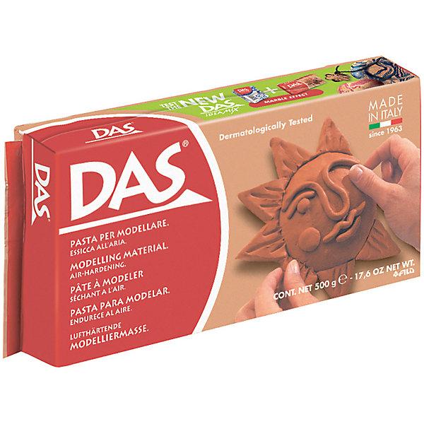 Масса для моделирования на основе натуральной глины, терракотовая, 500 гНаборы полимерной глины<br>Характеристики товара:<br><br>• масса пасты: 500 грамм;<br>• цвет пасты: терракотовый;<br>• размер упаковки: 30,5х17х21 см;<br>• вес: 500 грамм;<br>• возраст: от 3 лет.<br><br>Паста DAS прекрасно подойдет для самостоятельных занятий по моделированию. Она не требует специальной подготовки и уже готова к использованию. Во время использования пасту можно смачивать водой. Терракотовый цвет пасты подходит для имитации изделий из красной глины. Не требует обжига.<br><br>Паста DAS не прилипает к рукам и хорошо шлифуется. Готовые поделки подходят для окрашивания акриловыми красками и лаком. Для затвердения пасты необходимо оставить фигурку на воздухе. Время высыхания занимает от нескольких часов до нескольких суток, в зависимости от объема фигурки. Готовая фигурка не трескается.<br><br>DAS (Дас) пасту для моделирования,  500 гр, терракотовая можно купить в нашем интернет-магазине.<br>Ширина мм: 75; Глубина мм: 35; Высота мм: 150; Вес г: 525; Возраст от месяцев: 72; Возраст до месяцев: 120; Пол: Унисекс; Возраст: Детский; SKU: 5107855;