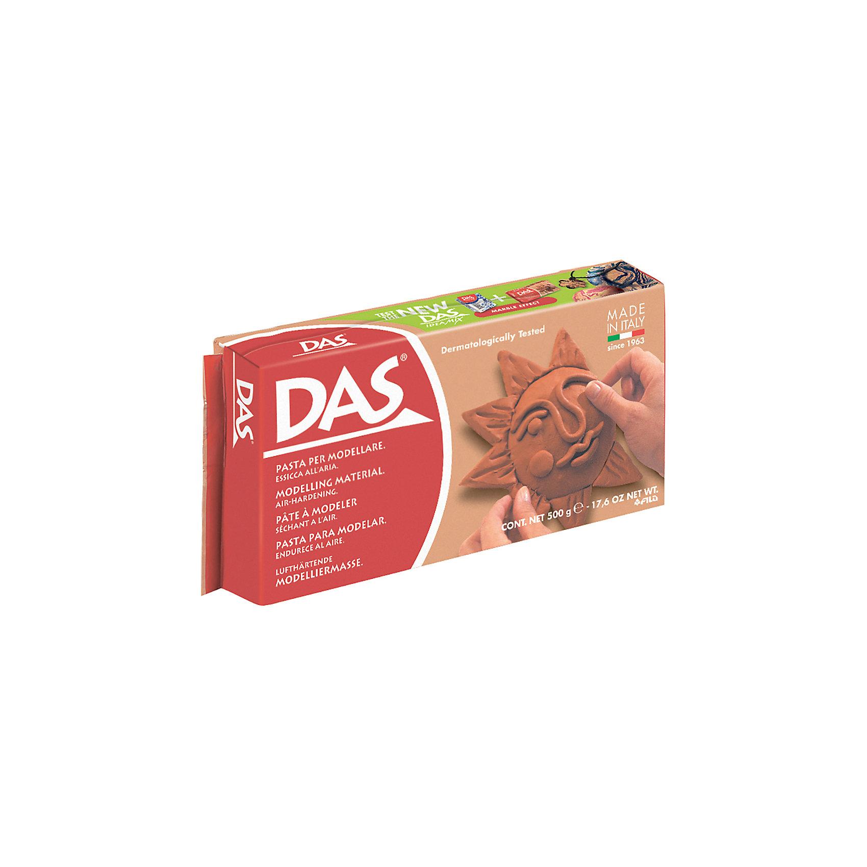 Масса для моделирования на основе натуральной глины, терракотовая, 500 гНаборы полимерной глины<br>Характеристики товара:<br><br>• масса пасты: 500 грамм;<br>• цвет пасты: терракотовый;<br>• размер упаковки: 30,5х17х21 см;<br>• вес: 500 грамм;<br>• возраст: от 3 лет.<br><br>Паста DAS прекрасно подойдет для самостоятельных занятий по моделированию. Она не требует специальной подготовки и уже готова к использованию. Во время использования пасту можно смачивать водой. Терракотовый цвет пасты подходит для имитации изделий из красной глины. Не требует обжига.<br><br>Паста DAS не прилипает к рукам и хорошо шлифуется. Готовые поделки подходят для окрашивания акриловыми красками и лаком. Для затвердения пасты необходимо оставить фигурку на воздухе. Время высыхания занимает от нескольких часов до нескольких суток, в зависимости от объема фигурки. Готовая фигурка не трескается.<br><br>DAS (Дас) пасту для моделирования,  500 гр, терракотовая можно купить в нашем интернет-магазине.<br><br>Ширина мм: 75<br>Глубина мм: 35<br>Высота мм: 150<br>Вес г: 525<br>Возраст от месяцев: 72<br>Возраст до месяцев: 120<br>Пол: Унисекс<br>Возраст: Детский<br>SKU: 5107855
