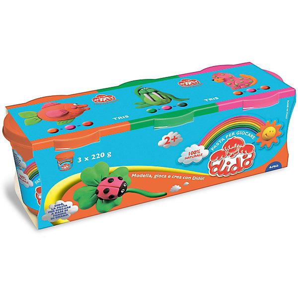 Масса для лепки, 3 шт х 220 гМасса для лепки<br>Характеристики товара:<br><br>• в комплекте: масса для лепки (3 цвета по 220 грамм);<br>• цвета: оранжевый, зеленый, розовый;<br>• размер упаковки: 25,5х8,5 см;<br>• вес: 680 грамм;<br>• возраст: от 2 лет.<br><br>Паста для лепки Dido отлично подойдет даже для самых маленьких. Паста изготовлена на основе натуральных компонентов с добавлением пищевых красителей, поэтому она полностью безопасна для малышей. В набор входят 3 баночки с пастой: оранжевая, розовая, зеленая.<br><br>Паста очень пластична, легко принимает нужную форму, не крошится и практически не липнет к рукам. Для создания поделки необходимо слепить нужную фигурку и оставить на воздухе для застывания.<br><br>DIDO (Дайдо), пасту для лепки, 3*220 гр, оранжевая, зеленая, розовая можно купить в нашем интернет-магазине.<br>Ширина мм: 90; Глубина мм: 75; Высота мм: 210; Вес г: 660; Возраст от месяцев: 24; Возраст до месяцев: 72; Пол: Унисекс; Возраст: Детский; SKU: 5107868;