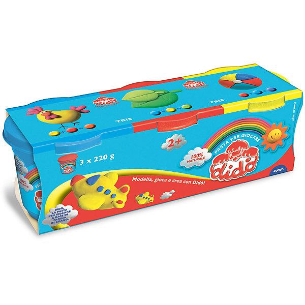 Масса для лепки, 3 шт х 220 г.Масса для лепки<br>Характеристики товара:<br><br>• в комплекте: масса для лепки (3 цвета по 220 грамм);<br>• цвета: желтый, синий, красный;<br>• размер упаковки: 25,5х8,5 см;<br>• вес: 680 грамм;<br>• возраст: от 2 лет.<br><br>Паста для лепки Dido отлично подойдет даже для самых маленьких. Паста изготовлена на основе натуральных компонентов с добавлением пищевых красителей, поэтому она полностью безопасна для малышей. В набор входят 3 баночки с пастой: желтая, синяя, красная.<br><br>Паста очень пластична, легко принимает нужную форму, не крошится и практически не липнет к рукам. Для создания поделки необходимо слепить нужную фигурку и оставить на воздухе для застывания.<br><br>DIDO (Дайдо), пасту для лепки, 3*220 гр, синяя, красная, желтая можно купить в нашем интернет-магазине.<br>Ширина мм: 90; Глубина мм: 75; Высота мм: 210; Вес г: 660; Возраст от месяцев: 24; Возраст до месяцев: 72; Пол: Унисекс; Возраст: Детский; SKU: 5107869;