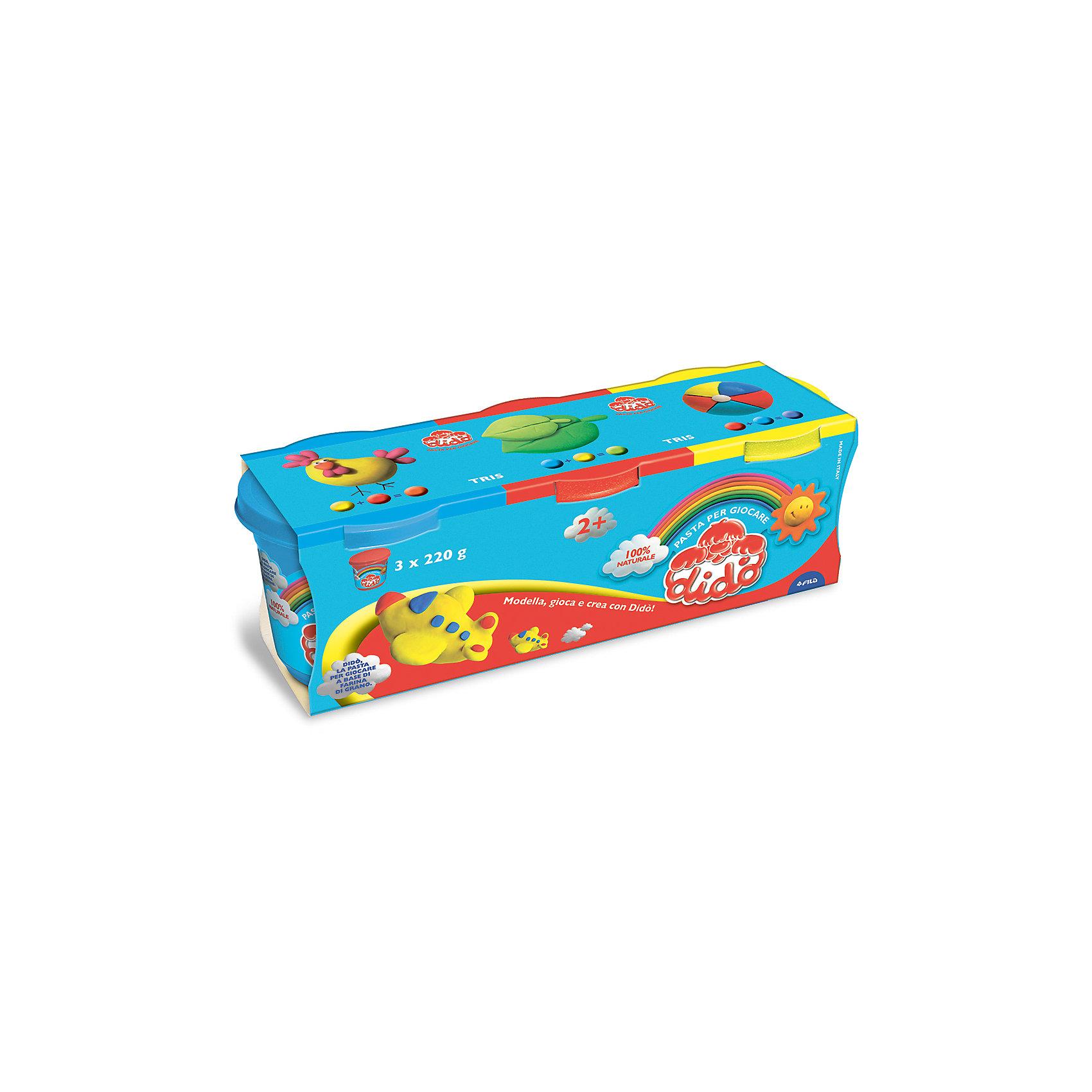 Масса для лепки - аналог соленого теста, 3 шт х 220 г.Масса для лепки<br>Характеристики товара:<br><br>• в комплекте: масса для лепки (3 цвета по 220 грамм);<br>• цвета: желтый, синий, красный;<br>• размер упаковки: 25,5х8,5 см;<br>• вес: 680 грамм;<br>• возраст: от 2 лет.<br><br>Паста для лепки Dido отлично подойдет даже для самых маленьких. Паста изготовлена на основе натуральных компонентов с добавлением пищевых красителей, поэтому она полностью безопасна для малышей. В набор входят 3 баночки с пастой: желтая, синяя, красная.<br><br>Паста очень пластична, легко принимает нужную форму, не крошится и практически не липнет к рукам. Для создания поделки необходимо слепить нужную фигурку и оставить на воздухе для застывания.<br><br>DIDO (Дайдо), пасту для лепки, 3*220 гр, синяя, красная, желтая можно купить в нашем интернет-магазине.<br><br>Ширина мм: 90<br>Глубина мм: 75<br>Высота мм: 210<br>Вес г: 660<br>Возраст от месяцев: 24<br>Возраст до месяцев: 72<br>Пол: Унисекс<br>Возраст: Детский<br>SKU: 5107869