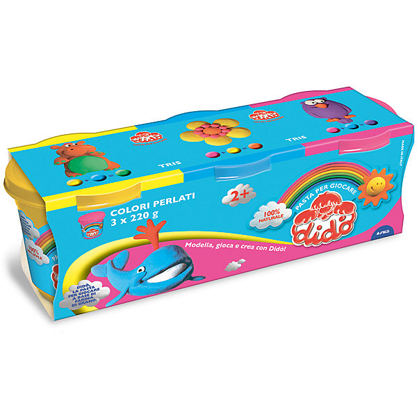 Масса для лепки - аналог соленого теста, 3 шт х 220 г.Масса для лепки<br>Характеристики товара:<br><br>• в комплекте: масса для лепки (3 цвета по 220 грамм);<br>• цвета: желтый, синий, розовый;<br>• размер упаковки: 25,5х8,5 см;<br>• вес: 680 грамм;<br>• возраст: от 2 лет.<br><br>Паста для лепки Dido отлично подойдет даже для самых маленьких. Паста изготовлена на основе натуральных компонентов с добавлением пищевых красителей, поэтому она полностью безопасна для малышей. В набор входят 3 баночки с пастой: желтая, синяя, розовая. Все цвета имеют перламутровый оттенок.<br><br>Паста очень пластична, легко принимает нужную форму, не крошится и практически не липнет к рукам. Для создания поделки необходимо слепить нужную фигурку и оставить на воздухе для застывания.<br><br>Пасту для лепки, 3*220 гр, желтая, синяя, розов, перламутр. оттенок можно купить в нашем интернет-магазине.<br><br>Ширина мм: 90<br>Глубина мм: 75<br>Высота мм: 210<br>Вес г: 660<br>Возраст от месяцев: 24<br>Возраст до месяцев: 72<br>Пол: Унисекс<br>Возраст: Детский<br>SKU: 5107870