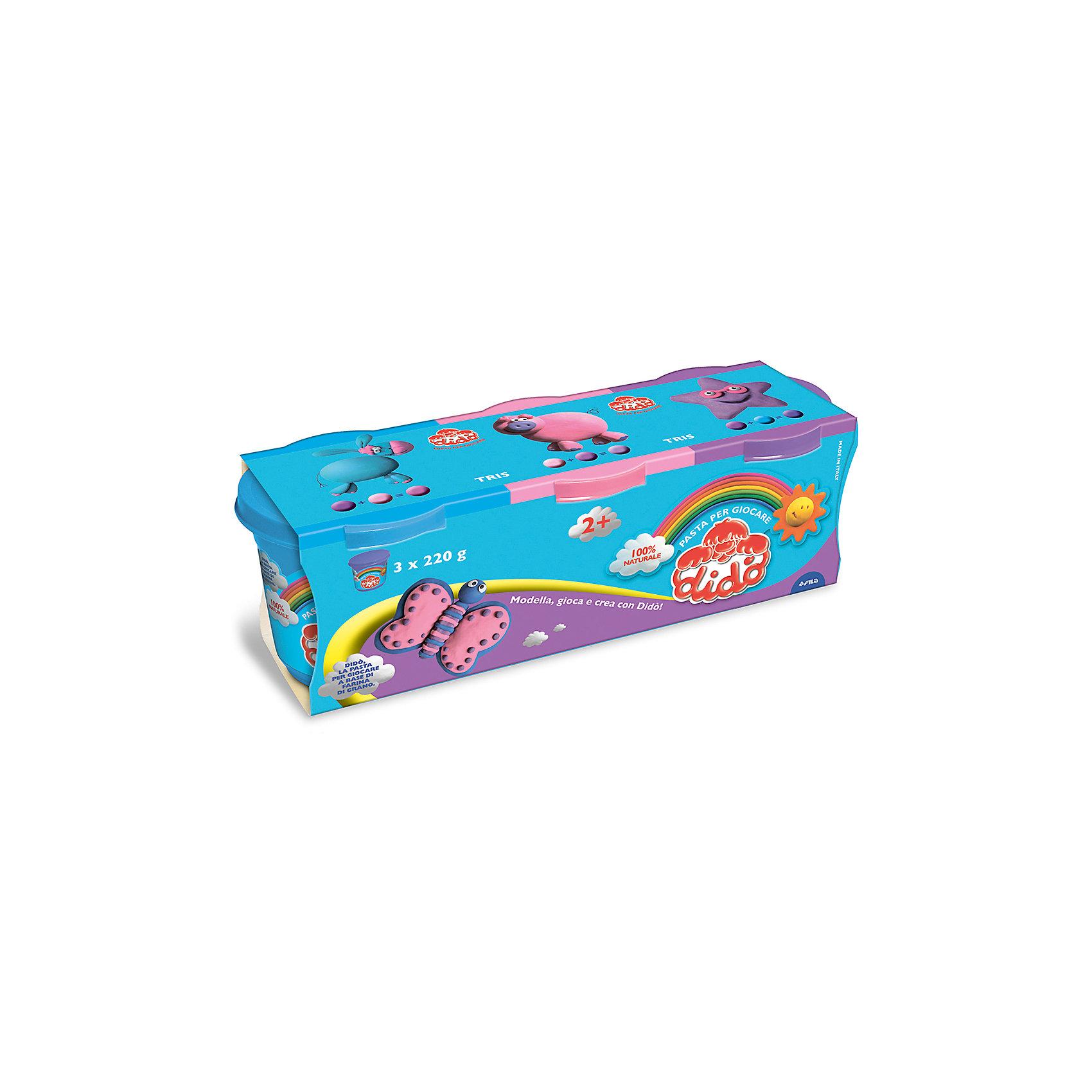 Масса для лепки - аналог соленого теста, 3 шт х 220 г.Масса для лепки<br>Характеристики товара:<br><br>• в комплекте: масса для лепки (3 цвета по 220 грамм);<br>• цвета: синий, лиловый, розовый;<br>• размер упаковки: 25,5х8,5 см;<br>• вес: 680 грамм;<br>• возраст: от 2 лет.<br><br>Паста для лепки Dido отлично подойдет даже для самых маленьких. Паста изготовлена на основе натуральных компонентов с добавлением пищевых красителей, поэтому она полностью безопасна для малышей. В набор входят 3 баночки с пастой: голубая, лиловая, розовая.<br><br>Паста очень пластична, легко принимает нужную форму, не крошится и практически не липнет к рукам. Для создания поделки необходимо слепить нужную фигурку и оставить на воздухе для застывания.<br><br>Пасту для лепки, 3*220 гр, синяя, лиловая, розовая можно купить в нашем интернет-магазине.<br><br>Ширина мм: 90<br>Глубина мм: 75<br>Высота мм: 210<br>Вес г: 660<br>Возраст от месяцев: 24<br>Возраст до месяцев: 2147483647<br>Пол: Унисекс<br>Возраст: Детский<br>SKU: 5107871