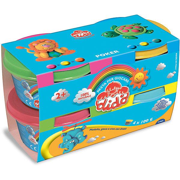Масса для лепки - аналог соленого теста, 4 шт х 100 г.Масса для лепки<br>Характеристики товара:<br><br>• в комплекте: паста для лепки (4 цвета по 100 грамм);<br>• цвета: синий, зеленый, желтый, розовый;<br>• размер упаковки: 10х9х17 см;<br>• вес: 450 грамм;<br>• возраст: от 2 лет.<br><br>Паста для лепки идеально подходит для развития творческих навыков, фантазии и мелкой моторики детей от двух лет. В набор от Dido входят 4 вида пасты: желтая, зеленая, розовая и синяя. Из них ребенок сможет слепить замечательные фигурки. Фигурки становятся твердыми при нахождении на воздухе.<br><br>Паста изготовлена из натуральных компонентов с добавлением пищевых красителей, поэтому использовать ее смогут даже самые маленькие скульпторы. Паста имеет мировые сертификаты безопасности. Консистенция очень мягкая, приятная для детских рук. Паста хорошо разминается и приобретает нужную форму.<br><br>Пасту для лепки, 4*100, синяя, зеленая, желтая, розовая можно купить в нашем интернет-магазине.<br><br>Ширина мм: 80<br>Глубина мм: 90<br>Высота мм: 160<br>Вес г: 410<br>Возраст от месяцев: 24<br>Возраст до месяцев: 72<br>Пол: Унисекс<br>Возраст: Детский<br>SKU: 5107872