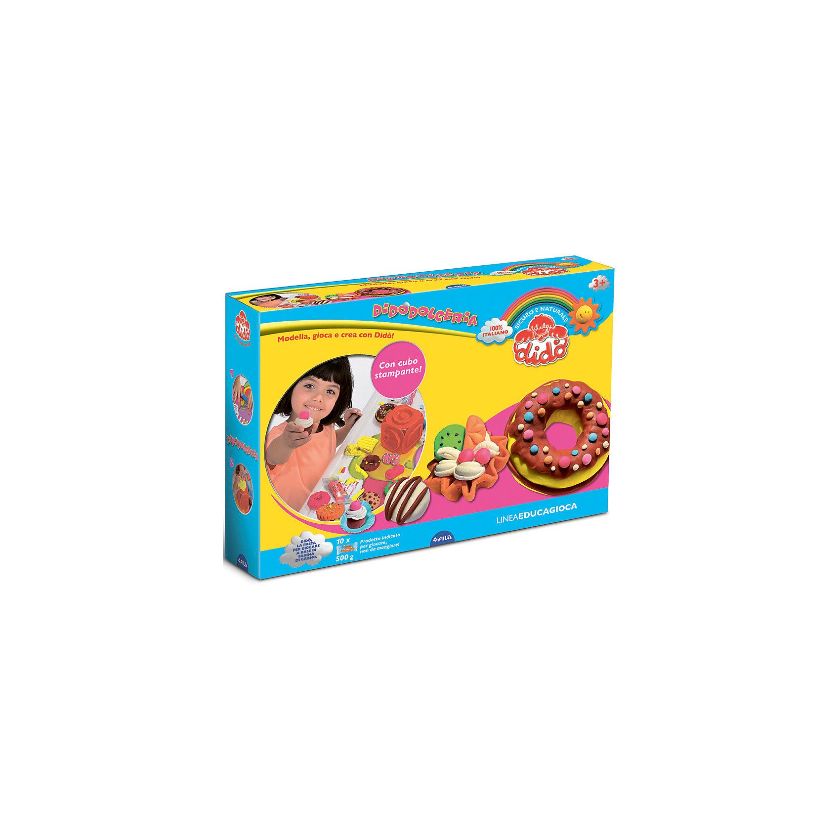 Набор для творчества КондитерЛепка<br>Характеристики товара:<br><br>• упаковка: коробка<br>• комплектация: масса для лепки, 1 кубик с формами, 1 стек, 1 скалка, дощечка для лепки 40х60 см., 5 листов с наклейками<br>• материал: пищевые красители, кукурузный крахмал, соль, мука<br>• цветов: 10<br>• вес массы одного цвета: 50 г<br>• возраст: от двух лет<br>• развивающая<br>• страна бренда: Италия<br>• страна производства: Италия<br><br>Лепка - отличный способ занять ребенка. Это не только занимательно, но и очень полезно! С помощью такого набора для творчества ребенок сможет сам сделать фигурки с помощью инструментов, а дальше - делать более сложные предметы. Эта масса для моделирования - безопасный материал, в котором только натуральные компоненты: пищевые красители, кукурузный крахмал, соль, мука. В комплекте - масса для лепки и инструменты. <br>Такое занятие как лепка помогает детям развивать многие важные навыки и способности: они тренируют внимание, память, логику, мышление, мелкую моторику, а также усидчивость и аккуратность. Изделие производится из качественных сертифицированных материалов, безопасных даже для самых маленьких.<br><br>Набор для творчества Кондитер от бренда Dido можно купить в нашем интернет-магазине.<br><br>Ширина мм: 80<br>Глубина мм: 25<br>Высота мм: 380<br>Вес г: 510<br>Возраст от месяцев: 24<br>Возраст до месяцев: 72<br>Пол: Женский<br>Возраст: Детский<br>SKU: 5107884