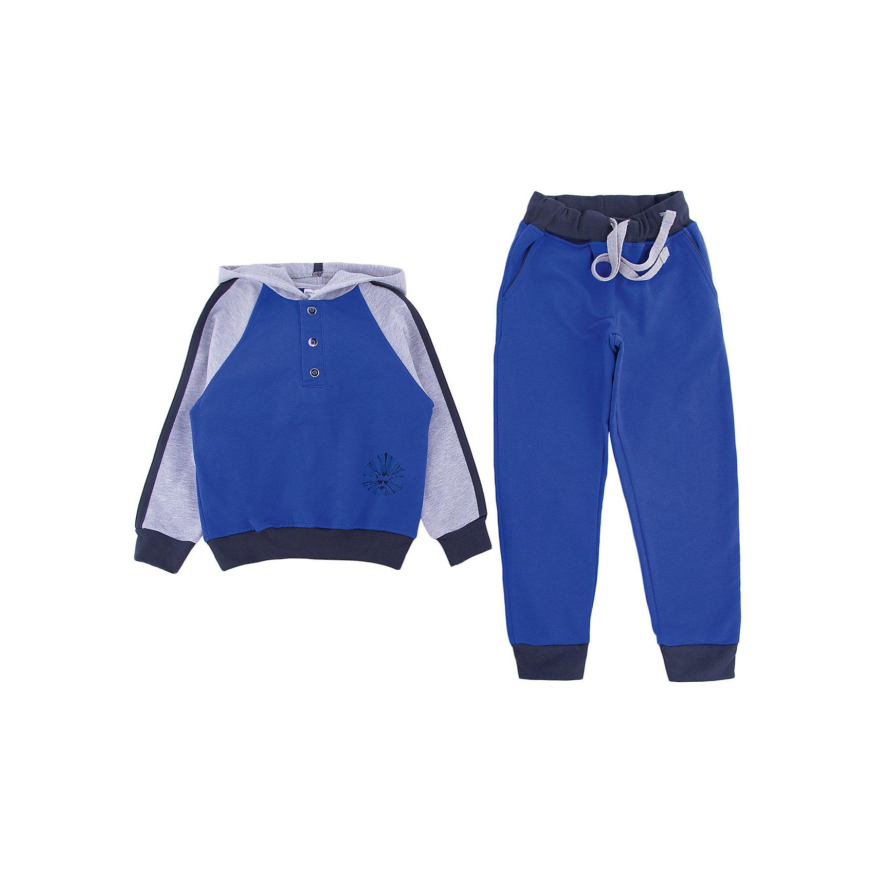 Костюм для мальчика МАМУЛЯНДИЯКостюм для мальчика МАМУЛЯНДИЯ<br>Костюм для мальчика из коллекции Мистер Лев. Костюм выполнен из трикотажного полотна вышего качества (футер). Сочетание цветов отвечает последним  тенденциям моды, костюм состоит из двух предметов - куртки с капюшоном и брюк. В костюме присутствует отделка принтом и фурнитура. <br>Рекомендации по уходу: стирать при температуре не выше 40 градусов, гладить при средней температуре, носить с удовольствием!<br>Состав:<br>100% хлопок<br><br>Ширина мм: 157<br>Глубина мм: 13<br>Высота мм: 119<br>Вес г: 200<br>Цвет: синий<br>Возраст от месяцев: 72<br>Возраст до месяцев: 84<br>Пол: Мужской<br>Возраст: Детский<br>Размер: 122,92,98,104,110,116<br>SKU: 5108982