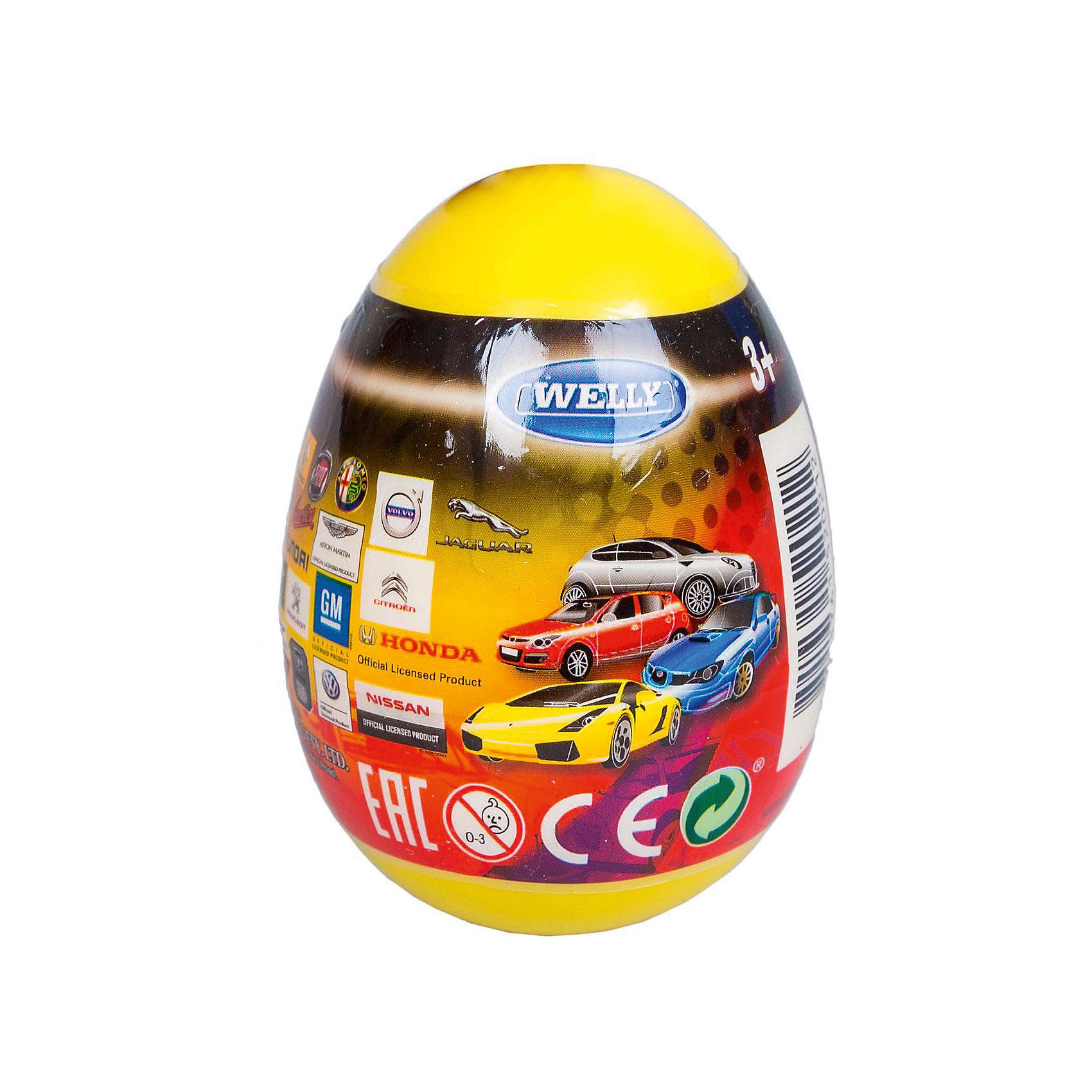 Модель машины 1:60 Яйцо-сюрприз, жёлтая, WellyХарактеристики товара:<br><br>- цвет: разноцветный;<br>- материал: пластик, металл;<br>- размер упаковки: 6х9х6 см;<br>- вес: 50 г;<br>- длина машинки: 8 см.. <br><br>Машинки от бренда Welly в закрытом яйце - отличный сюрприз для мальчика! Каждая машинка - копия настоящей, игрушка очень качественно выполнена, отлично детализирована, поэтому она станет желанным подарком для ребенка. Такое изделие отлично тренирует у ребенка разные навыки: играя с ней, малыш развивает мелкую моторику, цветовосприятие, внимание, воображение и творческое мышление.<br>Продается машинка в закрытом яйце - узнать, какая именно внутри, нельзя. Из этих фигурок можно собрать целую коллекцию! Изделие произведено из высококачественного материала, безопасного для детей.<br><br>Модель машины 1:60 Яйцо-сюрприз, желтую, от бренда Welly можно купить в нашем интернет-магазине.<br><br>Ширина мм: 60<br>Глубина мм: 90<br>Высота мм: 60<br>Вес г: 82<br>Возраст от месяцев: 36<br>Возраст до месяцев: 2147483647<br>Пол: Мужской<br>Возраст: Детский<br>SKU: 5109446