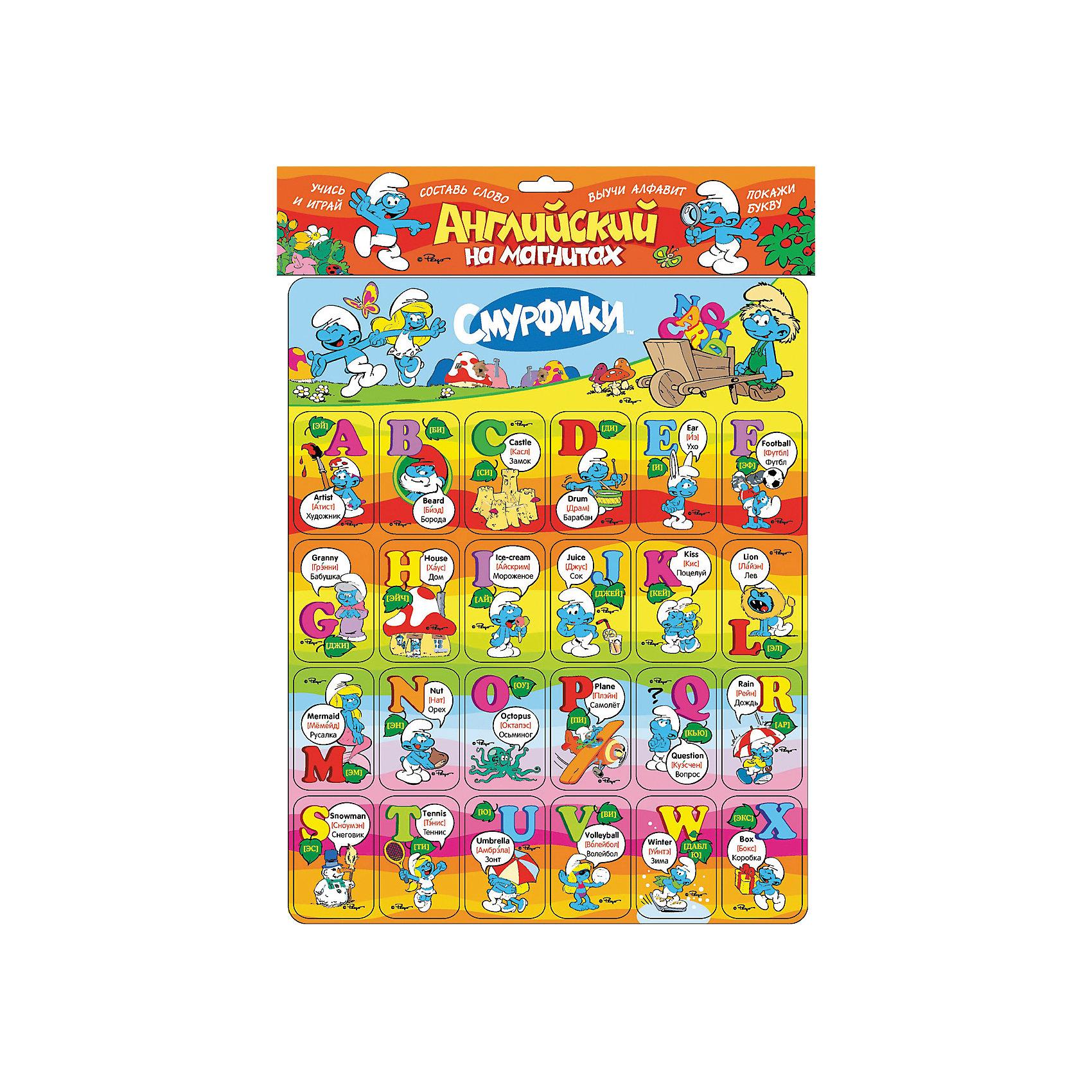 Английский алфавит на магнитах, СмурфикиОбучающие книги<br>Английский алфавит на магнитах, Смурфики<br><br>Характеристики:<br>- количество магнитов: 24<br>- формат: 30 * 1 * 31 см.<br>- Иллюстрации: цветные<br>- вес: 178 гр.<br><br>Английская азбука с героями известного мультфильма синими смурфиками сделает изучение нового алфавита еще веселее. Магниты можно перемещать на свое усмотрение и составлять на любимом холодильнике простые слова. Карточки помогут развить визуальную память, моторику рук и воображение. Фанаты мультфильма особенно оценят эту азбуку, ведь учиться с любимыми героями вдвойне веселее и увлекательнее. В набор входят и магниты со смурфиками. Необычный подход к изучению алфавита поможет привлечь внимание ребенка и принести больше результатов. <br>Английский алфавит на магнитах, Смурфики можно купить в нашем интернет-магазине.<br>Подробнее:<br>• Для детей в возрасте: от 3 до 7 лет<br>• Номер товара: 5109579<br>Страна производитель: Российская Федерация<br><br>Ширина мм: 310<br>Глубина мм: 300<br>Высота мм: 2<br>Вес г: 178<br>Возраст от месяцев: 36<br>Возраст до месяцев: 72<br>Пол: Унисекс<br>Возраст: Детский<br>SKU: 5109579