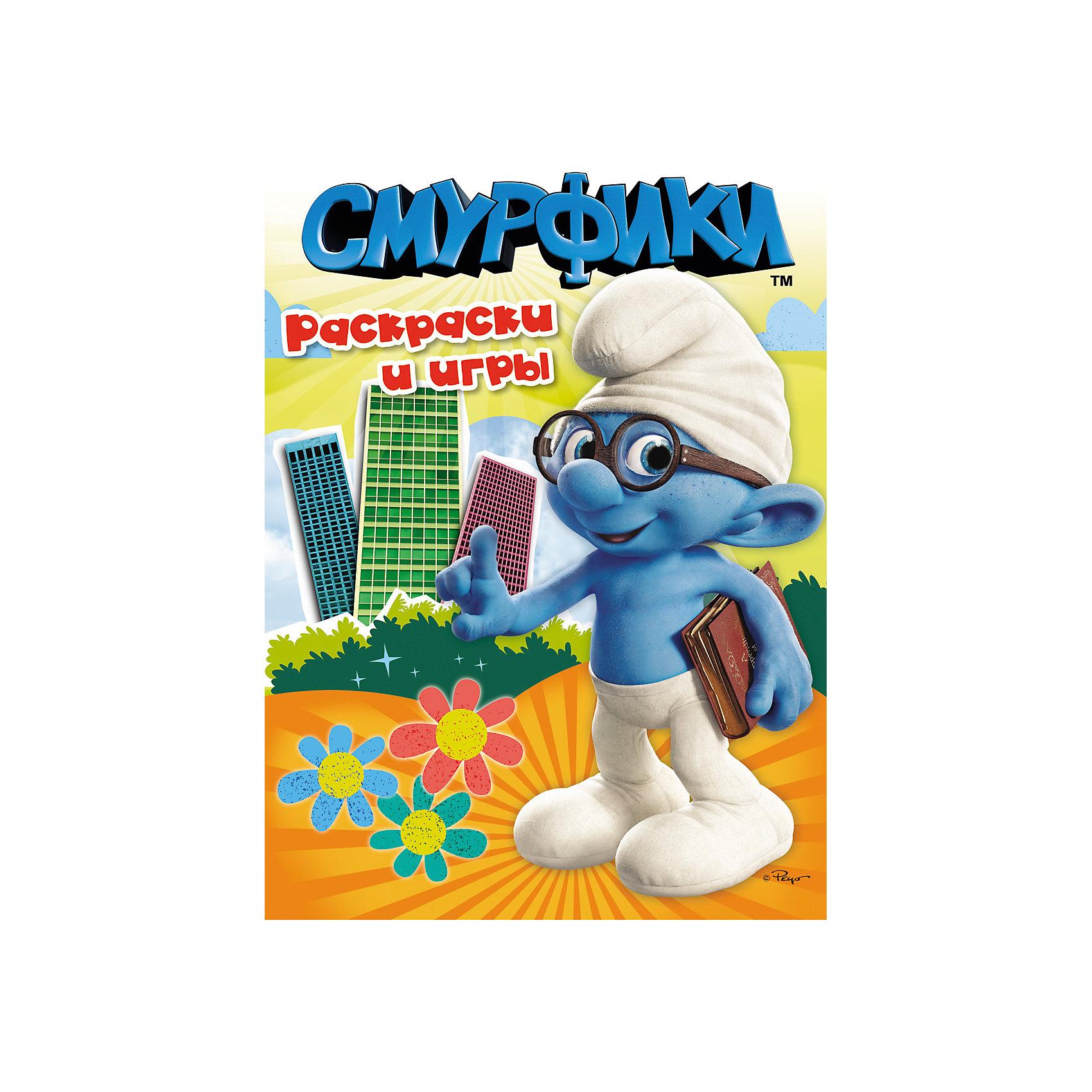 Раскраски и игры, СмурфикиРаскраски и игры, Смурфики<br><br>Характеристики:<br>- В набор входит: альбом для раскрашивания и игр<br>- количество страниц: 16<br>- формат: 24 * 0,3 * 32 см.<br>- Тип обложки: мягкая<br>- вес: 102 гр.<br>Раскраски и игры с героями известного мультфильма синими смурфиками сделают рисование еще веселее. Каждая страничка раскраски имеет свою историю, которая произошла в городе Смурфидол. Сборник включает интересные задания, увлекательные головоломки, игры и, конечно же, раскраски. Работая с раскрасками и головоломками ребенок развивает мелкую моторику, усидчивость, логическое мышление, чувство цвета, развивает творческие способности. Также доказано положительное влияние раскрасок на психологическое развитие. Кроме всех полезных свойств раскрасок и заданий этот сборник еще и отличное времяпровождение в компании с любимыми героями и воображением. <br>Раскраски и игры, Смурфики можно купить в нашем интернет-магазине.<br>Подробнее:<br>• ISBN: 9785353054771<br>• Для детей в возрасте: от 3 до 7 лет<br>• Номер товара: 5109583<br>Страна производитель: Российская Федерация<br><br>Ширина мм: 320<br>Глубина мм: 240<br>Высота мм: 3<br>Вес г: 102<br>Возраст от месяцев: 36<br>Возраст до месяцев: 72<br>Пол: Унисекс<br>Возраст: Детский<br>SKU: 5109583