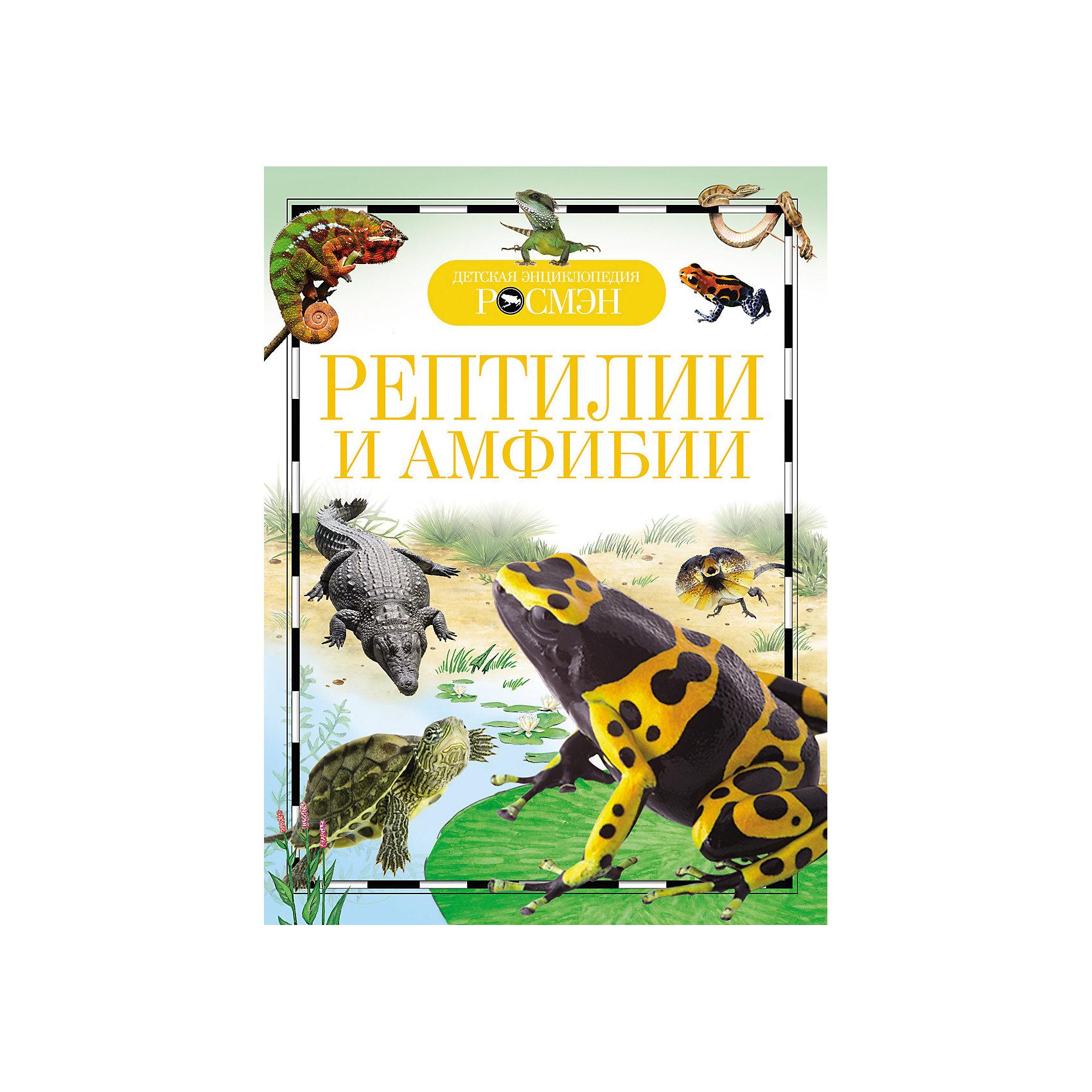 Рептилии и амфибииReptiles and amphibians (Рептилии и амфибии)<br><br>Характеристики:<br><br>• Серия: детская энциклопедия РОСМЭН<br>• Формат: 220х170<br>• Переплет: твердый переплет<br>• Количество страниц: 96<br>• Бумага: целлофанированная или лакированная<br>• Цветные иллюстрации: да<br>• Вес в упаковке: 234 г<br><br>Знаете ли вы, кто такие амфибии? Конечно знаете и непременно их встречали. Квакающие весной в пруду лягушки, временами выпрыгивающие на дорожку. Или медленно передвигающиеся по земле жабы. А рептилии? Кому не доводилось обнаруживать юрких ящериц на солнцепеке? А кто-то наталкивался и на безобидного ужа или, наоборот, на опасную гадюку. Но амфибий и рептилий на свете очень много, среди них есть удивительные существа, которые можно увидеть, только отправившись в далекое путешествие. Эта книга, снабженная иллюстрациями, позволит вам совершить такое путешествие, не выходя из дома.<br><br>Книгу «Рептилии и амфибии» можно купить в нашем интернет-магазине.<br><br>Ширина мм: 220<br>Глубина мм: 170<br>Высота мм: 10<br>Вес г: 234<br>Возраст от месяцев: 84<br>Возраст до месяцев: 108<br>Пол: Унисекс<br>Возраст: Детский<br>SKU: 5109734