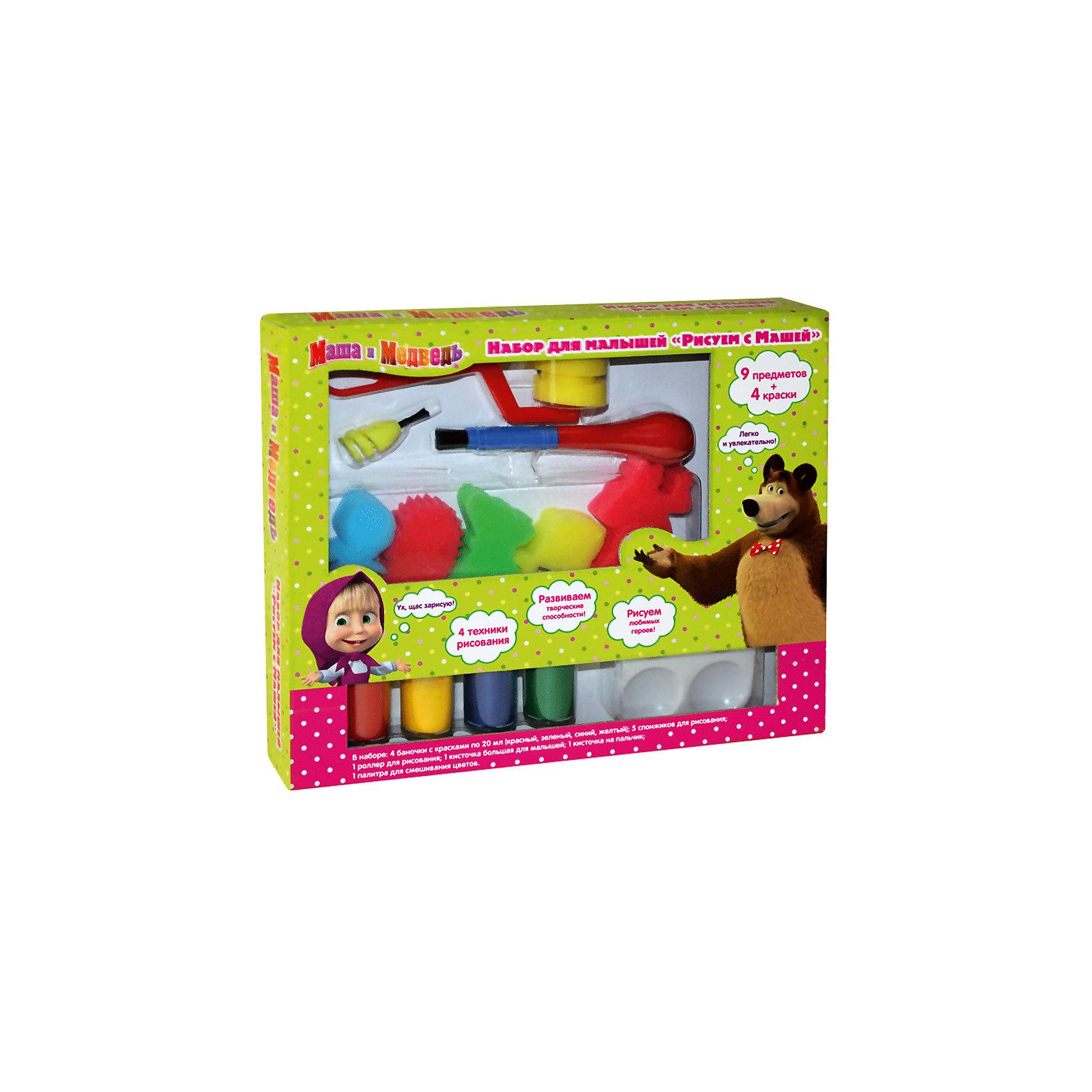 Набор для малышей Рисуем с Машей, Маша и МедведьРосмэн<br>Характеристики товара:<br><br>- цвет: разноцветный;<br>- комплектация: гуашь – 4 баночки по 20 мл (красный, зеленый, синий, жёлтый), 5 нейлоновых спонжиков (в виде Маши, медведя, рыбки, бабочки и собачки), пальчиковая кисточка, большая кисточка, роллер для рисования, палитра на 4 цвета;<br>- размер упаковки: 30 х 24 х 4 см;<br>- упаковка: коробка.<br><br>Этот набор станет отличным подарком для ребенка. Он помогает развить художественные навыки и интересно провести время. В нем есть разноцветные краски и предметы для изображения фона, героев мультфильма и дополнения рисунка деталями. В итоге - яркая оригинальная картинка!<br>Рисование даже в юном возрасте помогает ребенку развивать зрительную память, концентрацию внимания, мелкую моторику и цветовосприятие. Издание произведено из качественных материалов, которые безопасны даже для самых маленьких.<br><br>Набор для малышей Рисуем с Машей от компании Росмэн можно купить в нашем интернет-магазине.<br><br>Ширина мм: 300<br>Глубина мм: 247<br>Высота мм: 45<br>Вес г: 340<br>Возраст от месяцев: 36<br>Возраст до месяцев: 72<br>Пол: Унисекс<br>Возраст: Детский<br>SKU: 5109794