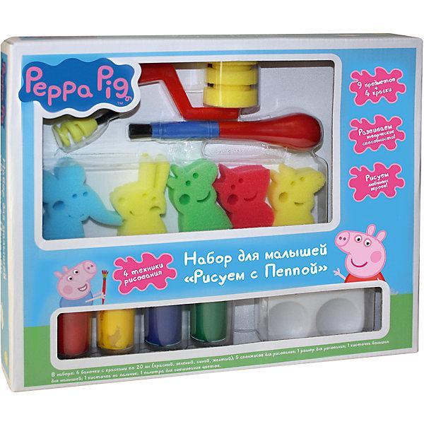 Набор для малышей Рисуем с Пеппой, Свинка ПеппаНаборы для раскрашивания<br>Характеристики:<br><br>• возраст: от 3 лет<br>• в наборе 13 предметов: 4 цвета гуаши по 20 мл (красный, зеленый, синий, желтый); 5 спонжиков в виде героев мультфильма; кисточка на пальчик; большая кисточка; роллер для рисования; палитра на 4 цвета<br>• упаковка: картонная коробка<br>• размер упаковки: 30х24,5х4,5 см.<br>• товар сертифицирован<br>• срок годности: 3 года<br><br>Набор «Рисуем с Пеппой» - это 4 техники рисования, развивающие творческие способности, воображение, мелкую моторику и цветовосприятие крохи.<br><br>Добавьте немного красок на палитру, обмакните роллер в голубую краску и проведите по бумаге, изобразив небо. Промойте его водой и нарисуйте другим цветом землю. Кисточками создайте солнышко, облака и деревья. Подождите, когда краска высохнет, и штампуйте забавных героев мультфильма спонжиками: обмакните их в краску, напечатайте на черновике, а потом на картинке.<br><br>Придумывайте разные композиции, играйте спонжиками в крестики-нолики, решайте задачки, развивайте логику малыша. А инструкция и полезные советы на коробочке вам помогут.<br><br>Набор для малышей Рисуем с Пеппой ТМ Свинка Пеппа можно купить в нашем интернет-магазине.<br>Ширина мм: 300; Глубина мм: 250; Высота мм: 45; Вес г: 340; Возраст от месяцев: 36; Возраст до месяцев: 72; Пол: Унисекс; Возраст: Детский; SKU: 5109795;