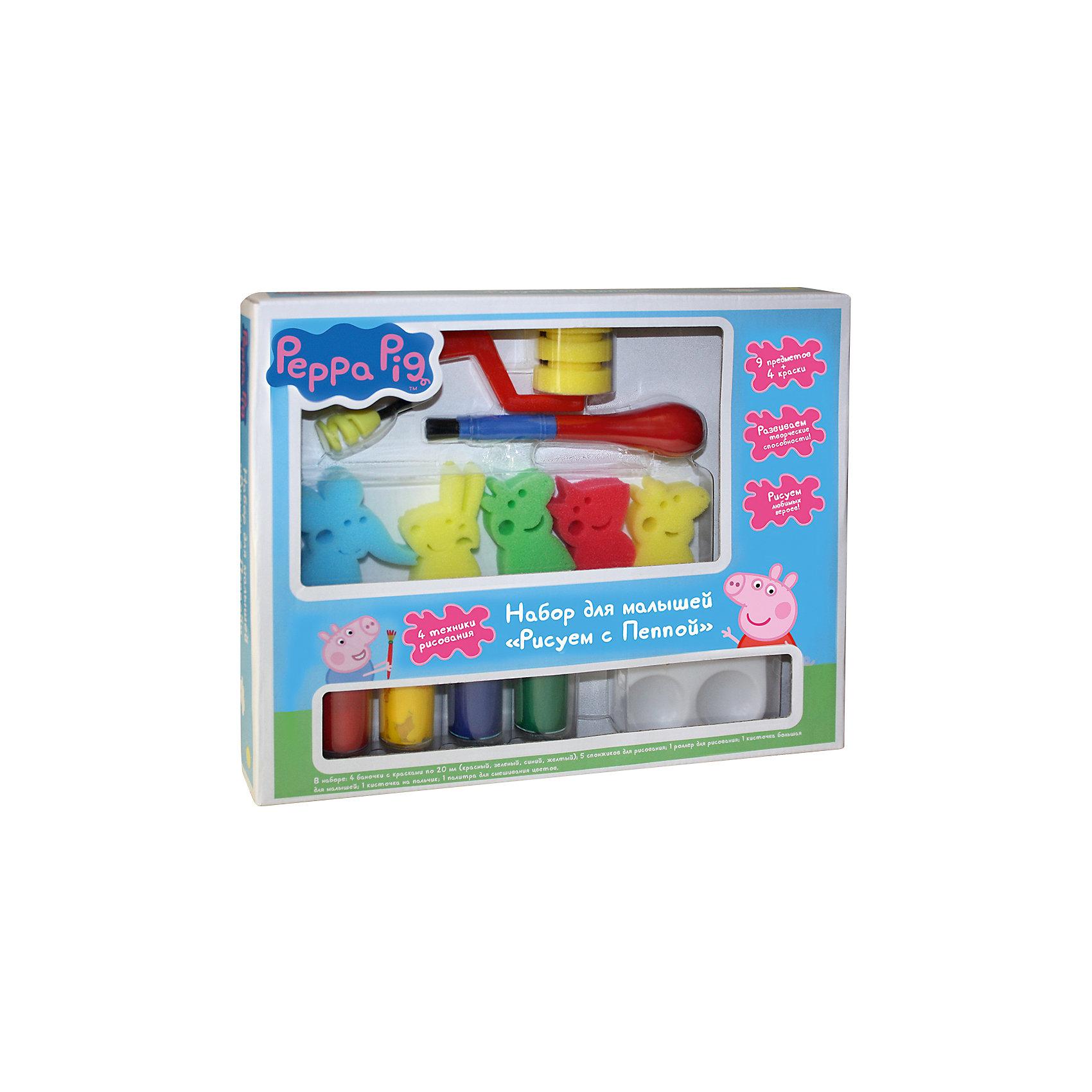 Набор для малышей Рисуем с Пеппой, Свинка ПеппаРисование<br>Характеристики товара:<br><br>- цвет: разноцветный;<br>- комплектация: гуашь – 4 баночки по 20 мл (красный, зеленый, синий, жёлтый), 5 нейлоновых спонжиков (в виде героев мульика), пальчиковая кисточка, большая кисточка, роллер для рисования, палитра на 4 цвета;<br>- размер упаковки: 30 х 24 х 4 см;<br>- упаковка: коробка.<br><br>Этот набор станет отличным подарком для ребенка. Он помогает развить художественные навыки и интересно провести время. В нем есть разноцветные краски и предметы для изображения фона, героев мультфильма и дополнения рисунка деталями. В итоге - яркая оригинальная картинка!<br>Рисование даже в юном возрасте помогает ребенку развивать зрительную память, концентрацию внимания, мелкую моторику и цветовосприятие. Издание произведено из качественных материалов, которые безопасны даже для самых маленьких.<br><br>Набор для малышей Рисуем с Пеппой от компании Росмэн можно купить в нашем интернет-магазине.<br><br>Ширина мм: 300<br>Глубина мм: 250<br>Высота мм: 45<br>Вес г: 340<br>Возраст от месяцев: 36<br>Возраст до месяцев: 72<br>Пол: Унисекс<br>Возраст: Детский<br>SKU: 5109795