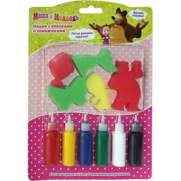 Набор с красками и спонжиками, Маша и МедведьНаборы для раскрашивания<br>Характеристики товара:<br><br>- цвет: разноцветный;<br>- комплектация: 6 цветов гуаши по 15 мл, 5 спонжиков в виде героев мультфильма;<br>- размер упаковки: 27 х 19 см;<br>- упаковка: коробка.<br><br>Этот набор станет отличным подарком для ребенка. Он помогает развить художественные навыки и интересно провести время. В нем есть разноцветные краски и предметы для изображения фона, героев мультфильма и дополнения рисунка деталями. В итоге - яркая оригинальная картинка!<br>Рисование даже в юном возрасте помогает ребенку развивать зрительную память, концентрацию внимания, мелкую моторику и цветовосприятие. Издание произведено из качественных материалов, которые безопасны даже для самых маленьких.<br><br>Набор с красками и спонжиками, Маша и Медведь, от компании Росмэн можно купить в нашем интернет-магазине.<br>Ширина мм: 275; Глубина мм: 190; Высота мм: 17; Вес г: 150; Возраст от месяцев: 36; Возраст до месяцев: 72; Пол: Унисекс; Возраст: Детский; SKU: 5109797;