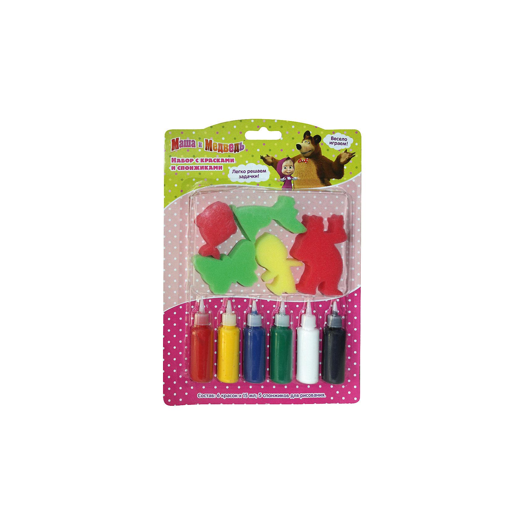 Набор с красками и спонжиками, Маша и МедведьМаша и Медведь<br>Характеристики товара:<br><br>- цвет: разноцветный;<br>- комплектация: 6 цветов гуаши по 15 мл, 5 спонжиков в виде героев мультфильма;<br>- размер упаковки: 27 х 19 см;<br>- упаковка: коробка.<br><br>Этот набор станет отличным подарком для ребенка. Он помогает развить художественные навыки и интересно провести время. В нем есть разноцветные краски и предметы для изображения фона, героев мультфильма и дополнения рисунка деталями. В итоге - яркая оригинальная картинка!<br>Рисование даже в юном возрасте помогает ребенку развивать зрительную память, концентрацию внимания, мелкую моторику и цветовосприятие. Издание произведено из качественных материалов, которые безопасны даже для самых маленьких.<br><br>Набор с красками и спонжиками, Маша и Медведь, от компании Росмэн можно купить в нашем интернет-магазине.<br><br>Ширина мм: 275<br>Глубина мм: 190<br>Высота мм: 17<br>Вес г: 150<br>Возраст от месяцев: 36<br>Возраст до месяцев: 72<br>Пол: Унисекс<br>Возраст: Детский<br>SKU: 5109797