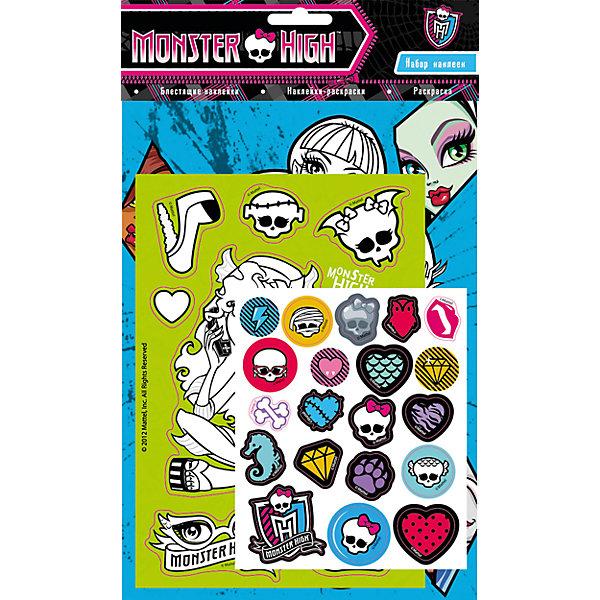 Набор наклеек 1, Monster HighКнижки с наклейками<br>Характеристики товара:<br><br>- цвет: разноцветный;<br>- материал: бумага;<br>- количество страниц: 6;<br>- формат: 31,0 x 18,5 см;<br>- возраст: 3+;<br>- обложка: мягкая.<br><br>Новое издание от компании Росмэн - не обычный набор наклеек, а полноценный набор для творчества. В наборе есть листы для раскрашивания, готовые стикеры, а так же наклейки, которые малышка может создать сама. Готовыми картинками можно украсить комнату, тетрадки или блокноты. Стикеры подходят для декорирования любых поверхностей. Все материалы, использованные при производстве издания, соответствуют всем стандартам качества и безопасности. <br><br>Сборник Набор наклеек 1, Monster High от компании Росмэн можно приобрести в нашем интернет-магазине<br><br>Ширина мм: 310<br>Глубина мм: 185<br>Высота мм: 2<br>Вес г: 36<br>Возраст от месяцев: 36<br>Возраст до месяцев: 72<br>Пол: Женский<br>Возраст: Детский<br>SKU: 5109854