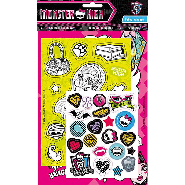 Набор наклеек 2, Monster HighКнижки с наклейками<br>Характеристики товара:<br><br>- цвет: разноцветный;<br>- материал: бумага;<br>- количество страниц: 6;<br>- формат: 31,0 x 18,5 см;<br>- возраст: 3+;<br>- обложка: мягкая.<br><br>Новое издание от компании Росмэн - не обычный набор наклеек, а полноценный набор для творчества. В наборе есть листы для раскрашивания, готовые стикеры, а так же наклейки, которые малышка может создать сама. Готовыми картинками можно украсить комнату, тетрадки или блокноты. Стикеры подходят для декорирования любых поверхностей. Все материалы, использованные при производстве издания, соответствуют всем стандартам качества и безопасности. <br><br>Сборник Набор наклеек 2, Monster High от компании Росмэн можно приобрести в нашем интернет-магазине.<br>Ширина мм: 305; Глубина мм: 185; Высота мм: 2; Вес г: 39; Возраст от месяцев: 36; Возраст до месяцев: 72; Пол: Женский; Возраст: Детский; SKU: 5109855;