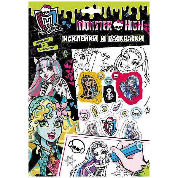 Наклейки и раскраски (зеленая), Monster HighРаскраски по номерам<br>Характеристики товара:<br><br>- цвет: зеленый;<br>- материал: бумага;<br>- количество страниц: 5;<br>- формат: 26,0 x 18,0 см;<br>- возраст: 5+;<br>- обложка: мягкая.<br><br>Куклы Monster High – любимые герои всех девочек! А модные наклейки – один из желанных предметов декора у малышей. Ими можно украсить абсолютно любые поверхности и не бояться, что они испортят мебель или стены. Любимые герои будут окружать ребенка и поднимать ему настроение. Кроме этого, в наборе есть множество картинок, которые можно раскрасить в яркие цвета. Все материалы, использованные при производстве издания, соответствуют всем стандартам качества и безопасности. <br><br>Издание Наклейки и раскраски (зеленая), Monster High от компании Росмэн можно приобрести в нашем интернет-магазине.<br><br>Ширина мм: 260<br>Глубина мм: 180<br>Высота мм: 2<br>Вес г: 44<br>Возраст от месяцев: 60<br>Возраст до месяцев: 84<br>Пол: Женский<br>Возраст: Детский<br>SKU: 5109859