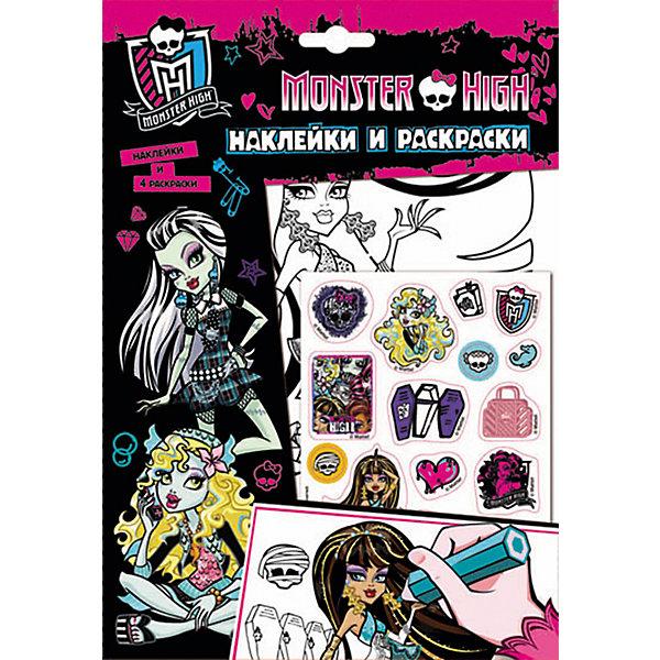 Наклейки и раскраски (розовая), Monster HighРаскраски по номерам<br>Характеристики товара:<br><br>- цвет: розовый;<br>- материал: бумага;<br>- количество страниц: 5;<br>- формат: 26,0 x 18,0 см;<br>- возраст: 5+;<br>- обложка: мягкая.<br><br>Куклы Monster High – любимые герои всех девочек! А модные наклейки – один из желанных предметов декора у малышей. Ими можно украсить абсолютно любые поверхности и не бояться, что они испортят мебель или стены. Любимые герои будут окружать ребенка и поднимать ему настроение. Кроме этого, в наборе есть множество картинок, которые можно раскрасить в яркие цвета. Все материалы, использованные при производстве издания, соответствуют всем стандартам качества и безопасности. <br><br>Издание Наклейки и раскраски (розовая), Monster High от компании Росмэн можно приобрести в нашем интернет-магазине.<br>Ширина мм: 260; Глубина мм: 185; Высота мм: 2; Вес г: 42; Возраст от месяцев: 60; Возраст до месяцев: 84; Пол: Женский; Возраст: Детский; SKU: 5109860;