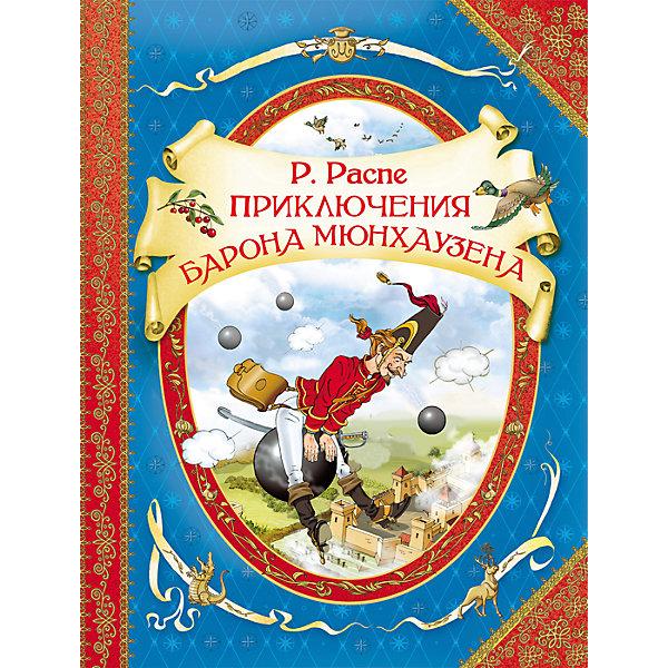 Приключения барона Мюнхаузена, Р. РаспеСказки<br>Характеристики товара:<br><br>- цвет: разноцветный;<br>- материал: бумага;<br>- страниц: 96;<br>- формат: 20 х 26 см;<br>- обложка: твердая;<br>- иллюстрации;<br>- пересказ Чуковского.<br><br>Эта интересная книга с иллюстрациями станет отличным подарком для ребенка. Она содержит в себе известные сказки, которые любит не одно поколение! Талантливый иллюстратор дополнил книгу качественными рисунками, которые помогают ребенку проникнуться духом сказки.<br>Чтение - отличный способ активизации мышления, оно помогает ребенку развивать зрительную память, концентрацию внимания и воображение. Издание произведено из качественных материалов, которые безопасны даже для самых маленьких.<br><br>Книгу Приключения барона Мюнхаузена, Р. Распе от компании Росмэн можно купить в нашем интернет-магазине.<br>Ширина мм: 263; Глубина мм: 201; Высота мм: 8; Вес г: 440; Возраст от месяцев: 36; Возраст до месяцев: 72; Пол: Унисекс; Возраст: Детский; SKU: 5109911;
