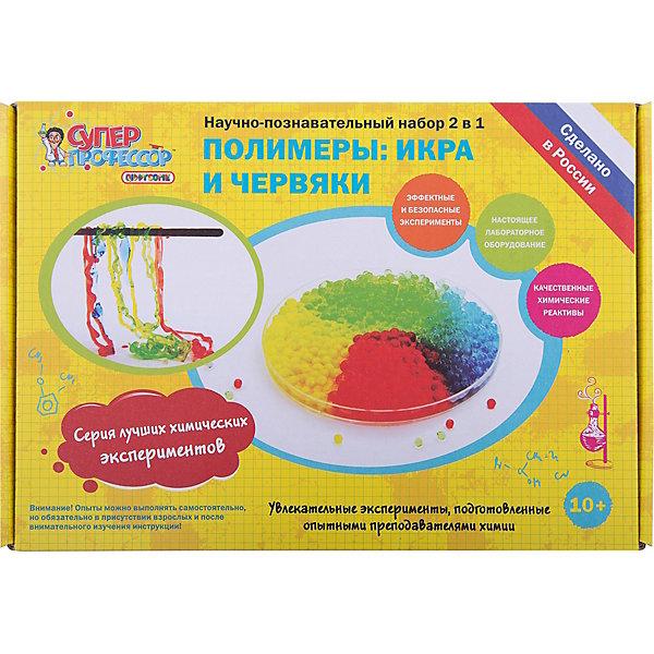 Набор для экспериментов 2 в 1 Полимеры: икра и червякиХимия<br>Научно-познавательный набор 2 в 1 Полимеры: икра и червяки из серии лучших химических экспериментов предназначен для изготовления своими руками таких популярных игрушек-развлечений, как полимерные червяки и искусственная икра. Все эксперименты просты и наглядны, а в состав набора входят только безопасные компоненты, являющиеся пищевыми добавками. <br>Набор включает в себя настоящее лабораторное оборудование и качественные химические реактивы. Каждый опыт сопровождается подробным описанием и красочными иллюстрациями. <br>В данную серию включены самые зрелищные и интересные эксперименты, которые смогут заинтересовать любого ребенка и показать, что химия - это не просто школьный предмет, но и невероятно увлекательная наука, которая рассказывает нам о процессах, происходящих каждый день с нами и вокруг нас.<br><br>Ширина мм: 270<br>Глубина мм: 80<br>Высота мм: 190<br>Вес г: 460<br>Возраст от месяцев: 120<br>Возраст до месяцев: 192<br>Пол: Унисекс<br>Возраст: Детский<br>SKU: 5111419