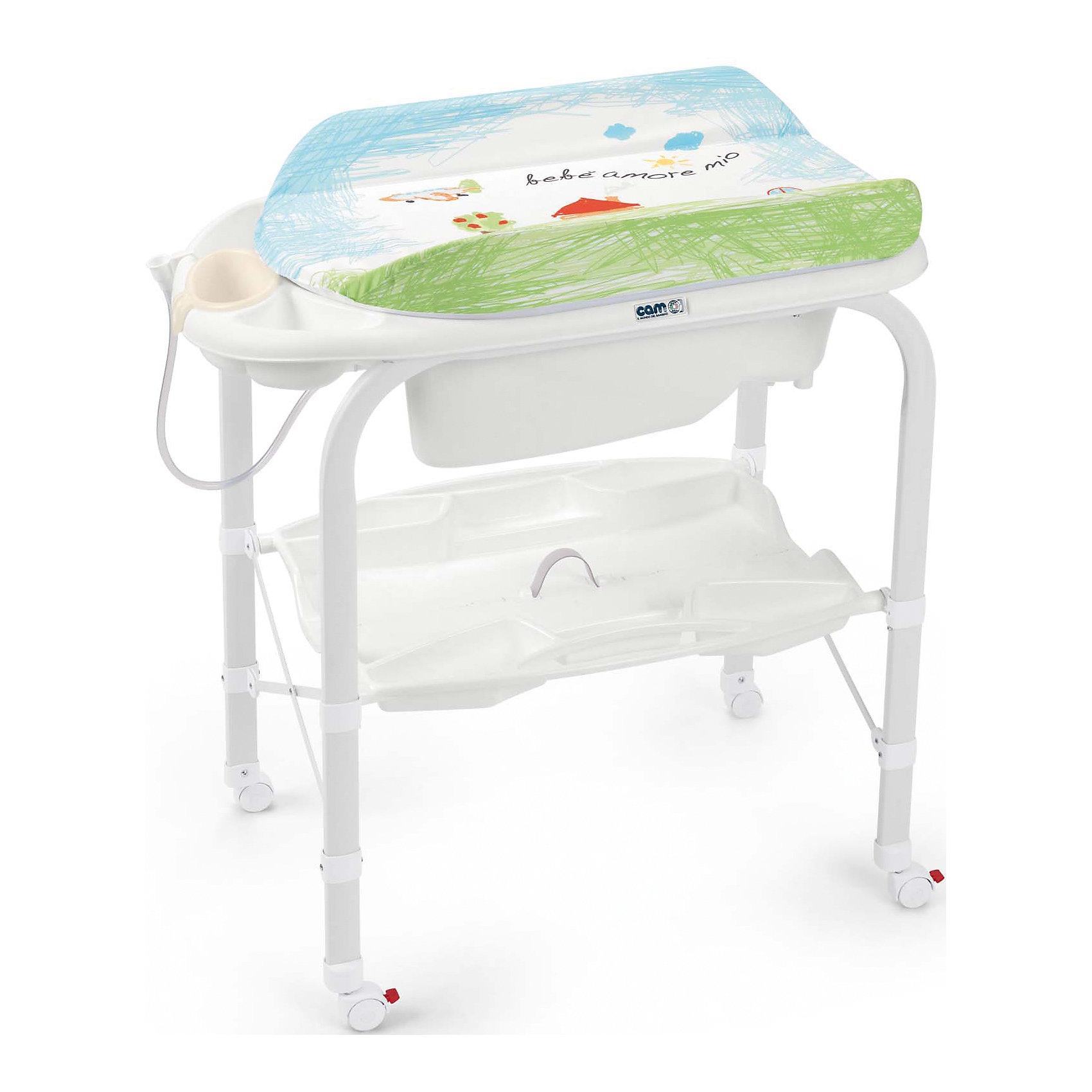 Пеленальный столик Cambio, CAM, совы.Все для пеленания<br>Пеленальный стол Cambio, CAM, идеально подходит для удобного и комфортного ухода за малышом. Основу конструкции составляет металлический каркас с закругленными углами. Съемная анатомическая ванночка может использоваться в 2-х позициях: для малышей от 0 до 6 месяцев и от 6 до 12 месяцев. Предусмотрены отделения для губки и мыла и отверстие для подвода воды через трубку. Под дном ванночки крепится удобный пластиковый контейнер с полкой-держателем для бутылочек и необходимых принадлежностей во время купания. Мягкий съемный пеленальный матрасик с высокими бортиками надежно и бережно поддерживает спинку малыша, оснащен системой безопасного крепления и предотвращения падения. Столик оборудован четырьмя колесиками, два из которых со стопорами. Пеленальный столик легко и компактно складывается и не занимает много места при хранении.<br><br><br>Дополнительная информация:<br>- Материал: металл, пластик.<br>- Размер в разложенном виде: 95 x 54 x 104 см.<br>- Размер в сложенном виде: 83 x 31 x 93 см.<br>- Вес: 10,8 кг.<br><br>Пеленальный стол Cambio, CAM, совы можно купить в нашем интернет-магазине.<br><br>Ширина мм: 965<br>Глубина мм: 209<br>Высота мм: 800<br>Вес г: 13600<br>Возраст от месяцев: 0<br>Возраст до месяцев: 12<br>Пол: Унисекс<br>Возраст: Детский<br>SKU: 5111808
